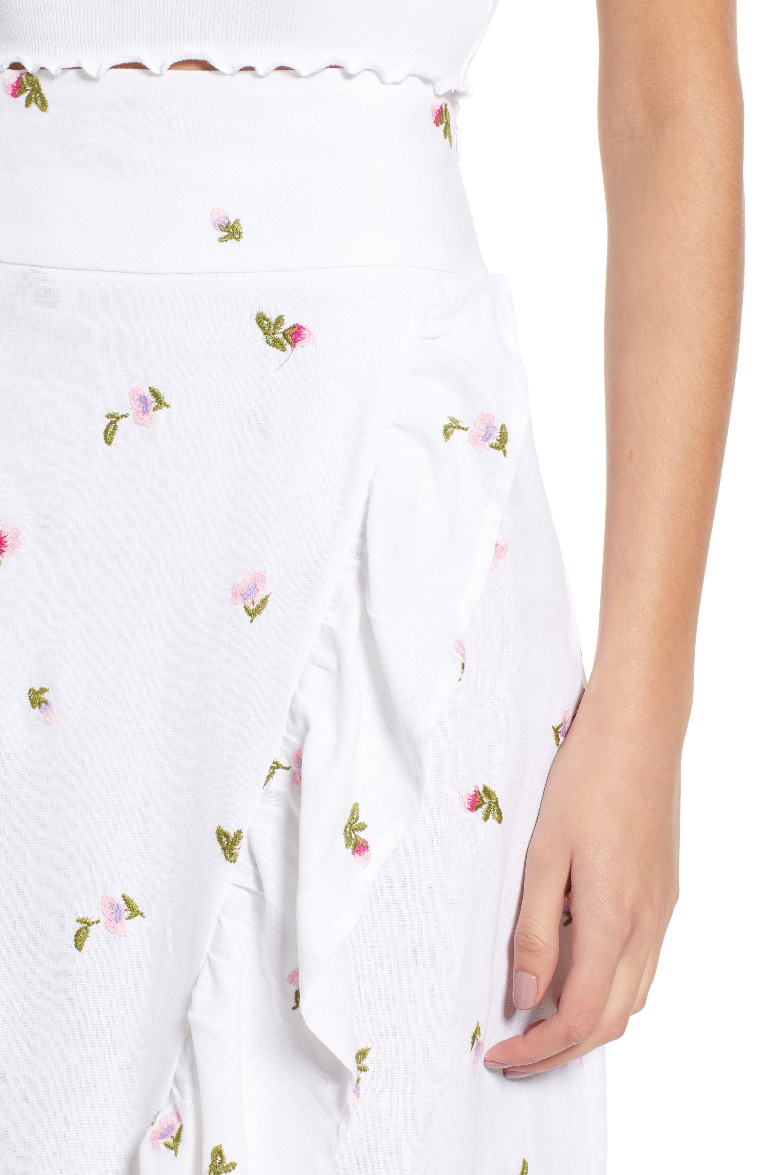 Sunset Midi Skirt,                             Alternate thumbnail 4, color,                             Ditsy Embroidery