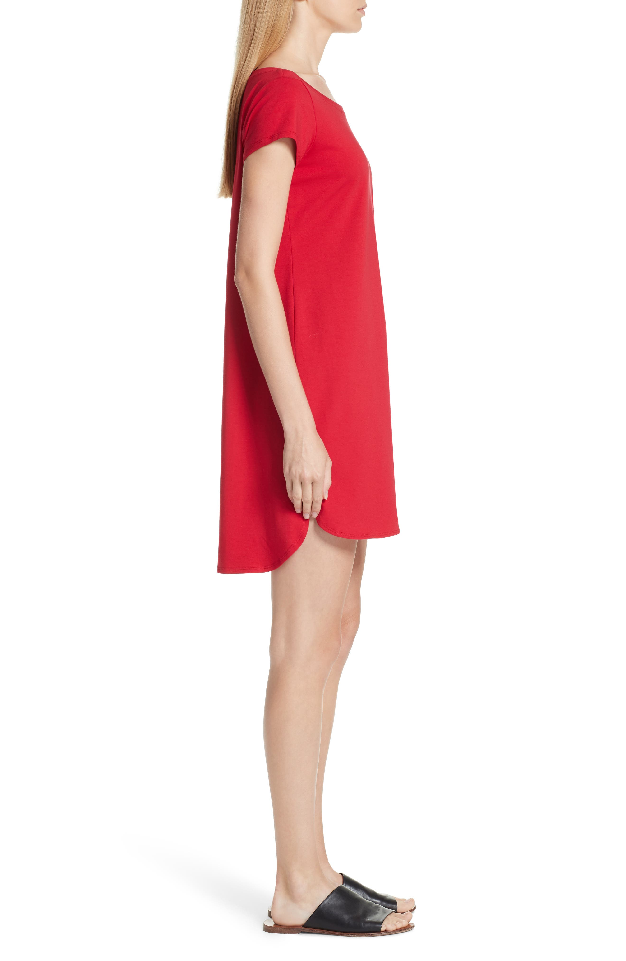 Stretch Cotton Shift Dress,                             Alternate thumbnail 3, color,                             Ruby