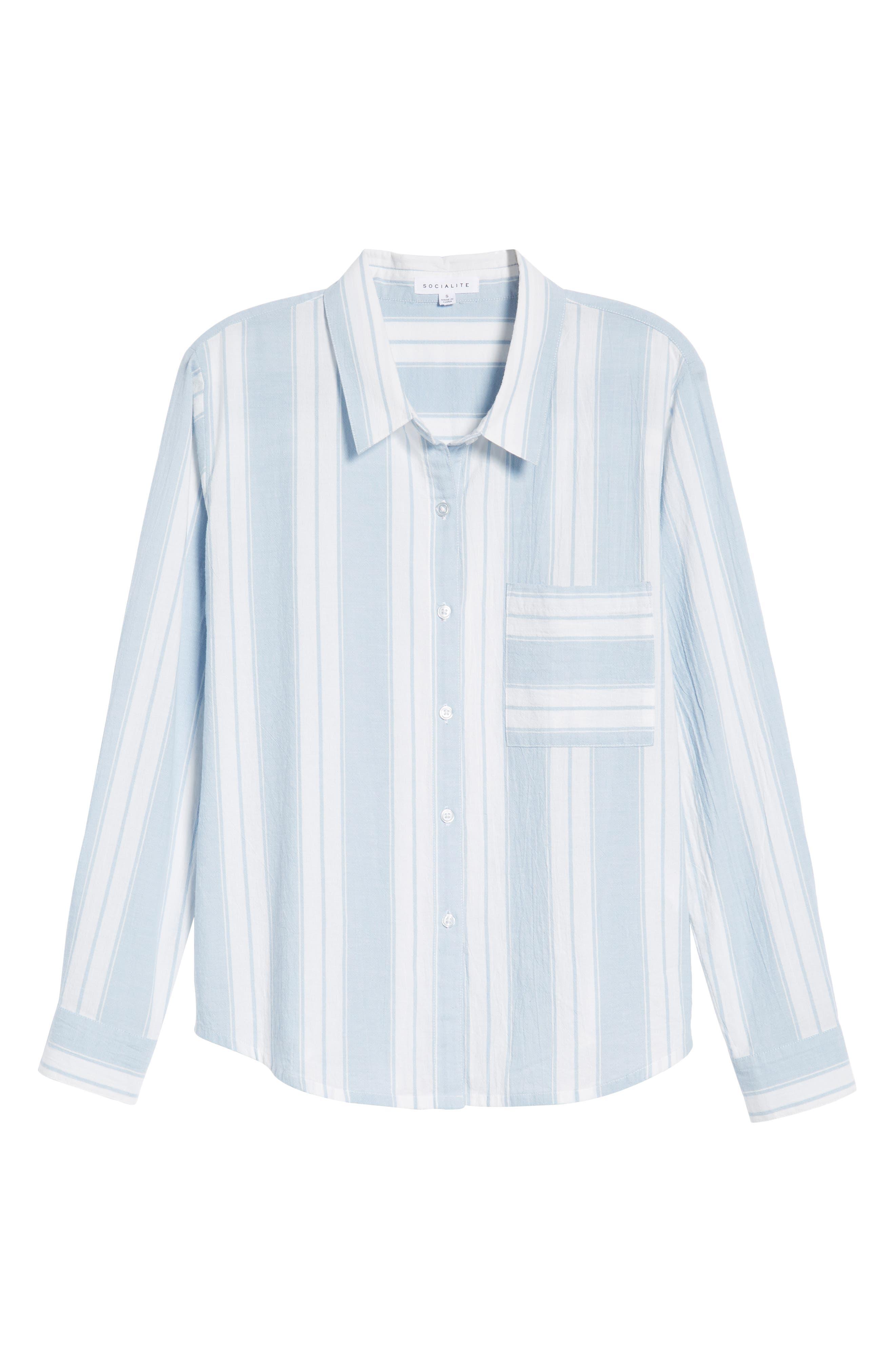 Bleach Stripe Chambray Top,                             Alternate thumbnail 7, color,                             Blue/ White