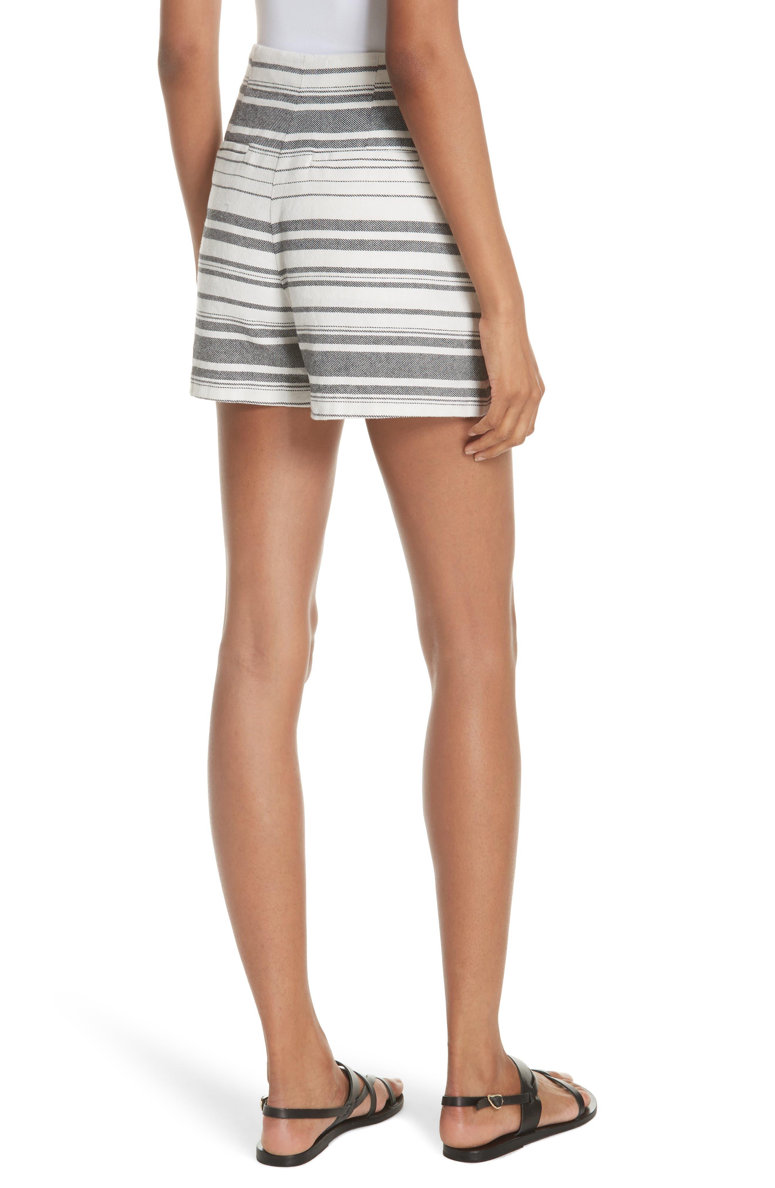 Brusha Stripe Cotton Twill Shorts,                             Alternate thumbnail 2, color,                             Caviar