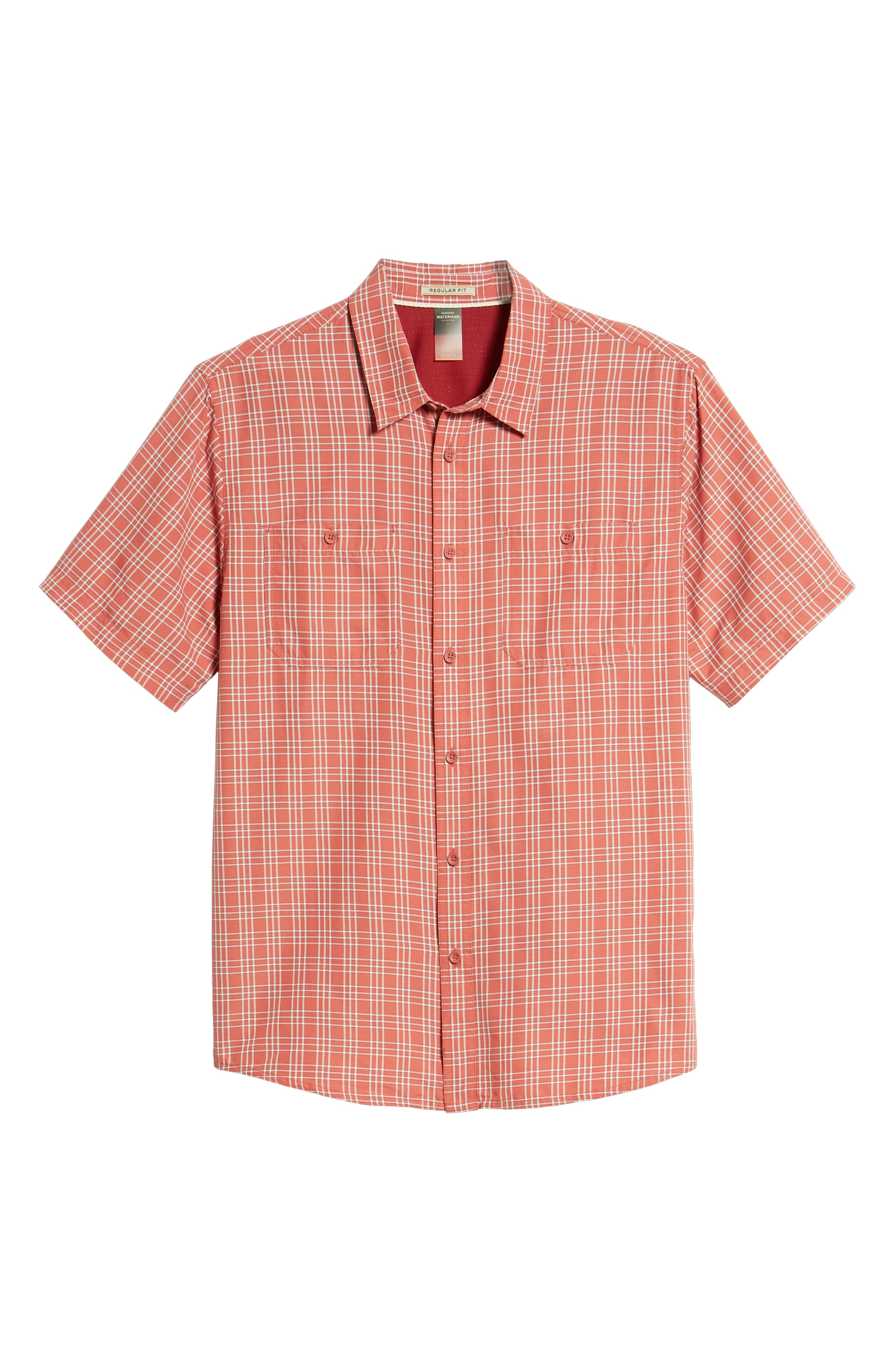 Wake Plaid Regular Fit Performance Sport Shirt,                             Alternate thumbnail 6, color,                             Mineral Red
