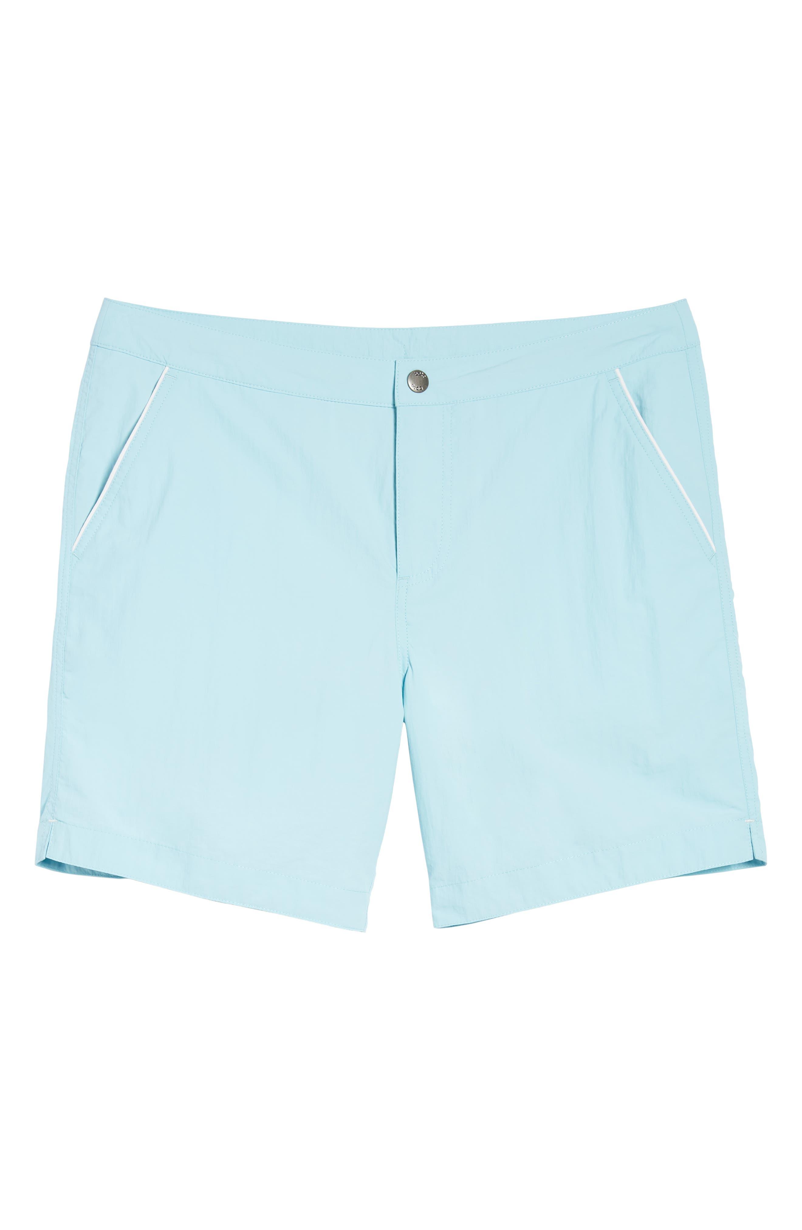 Rio Slim Fit Swim Trunks,                             Alternate thumbnail 6, color,                             Aqua Blue