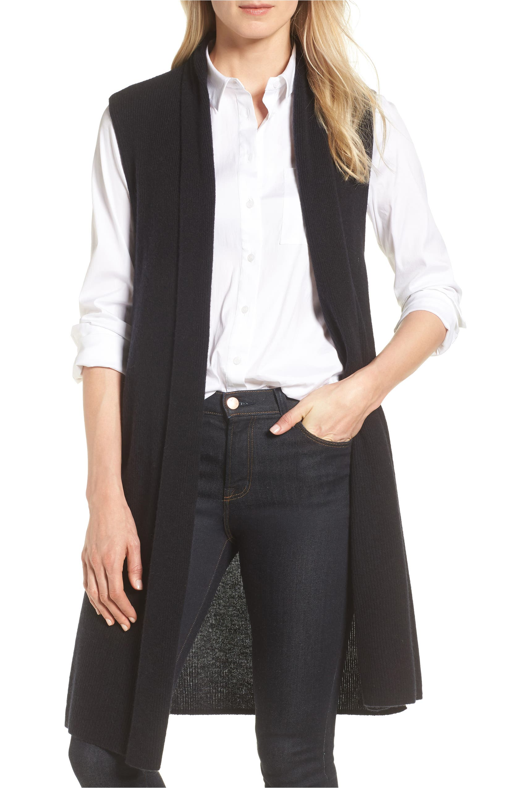 Ribbed Cashmere Vest,                         Main,                         color, Black