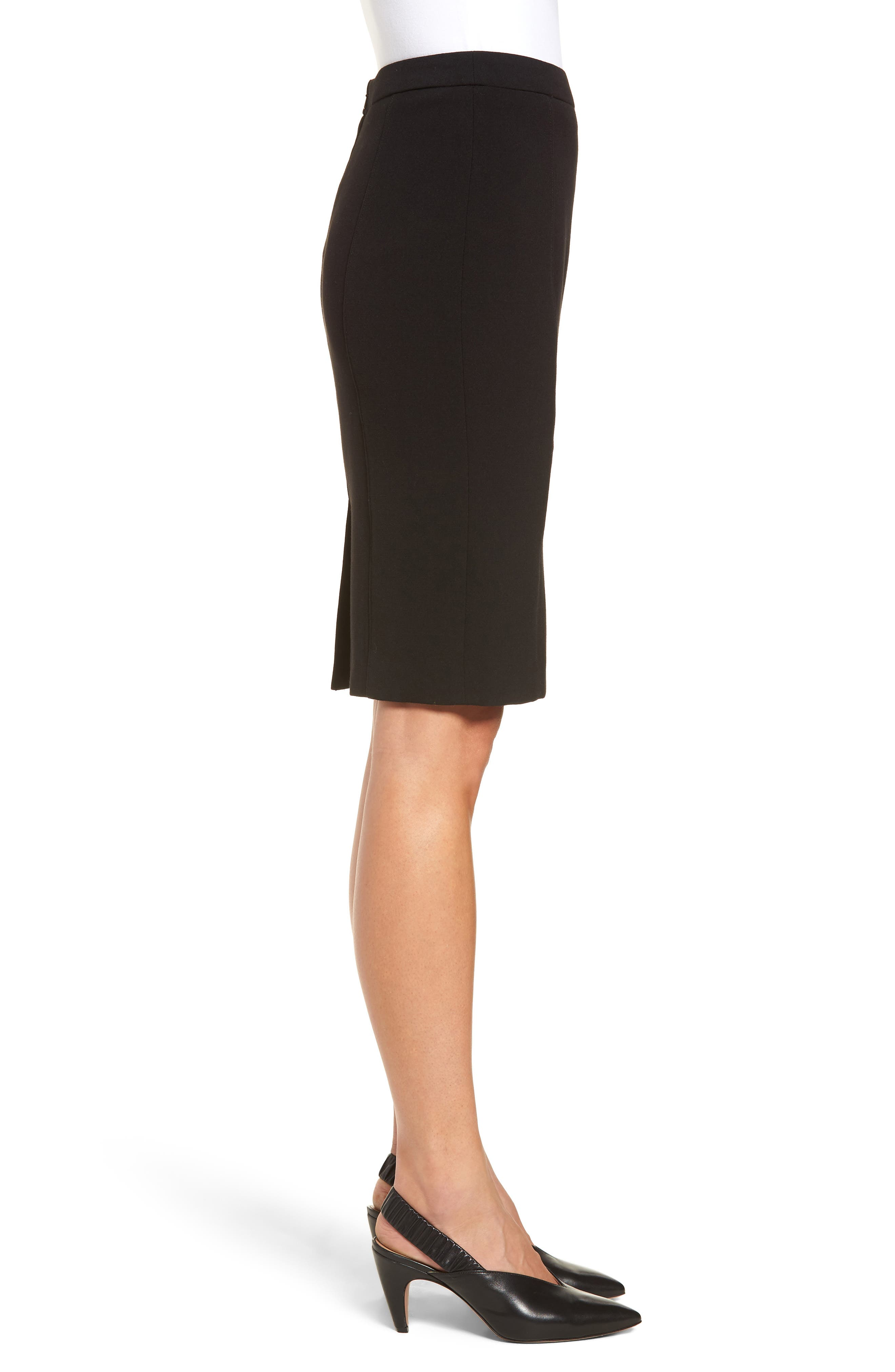 Seamed Pencil Skirt,                             Alternate thumbnail 3, color,                             Black