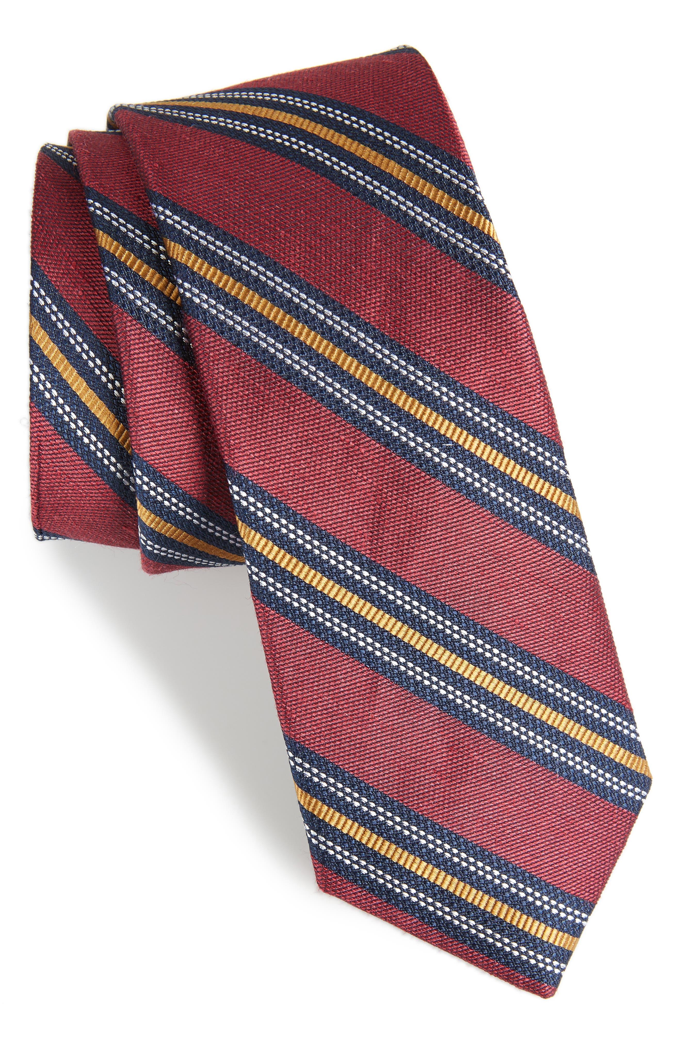 Rangel Stripe Silk & Linen Tie,                         Main,                         color, Burgundy