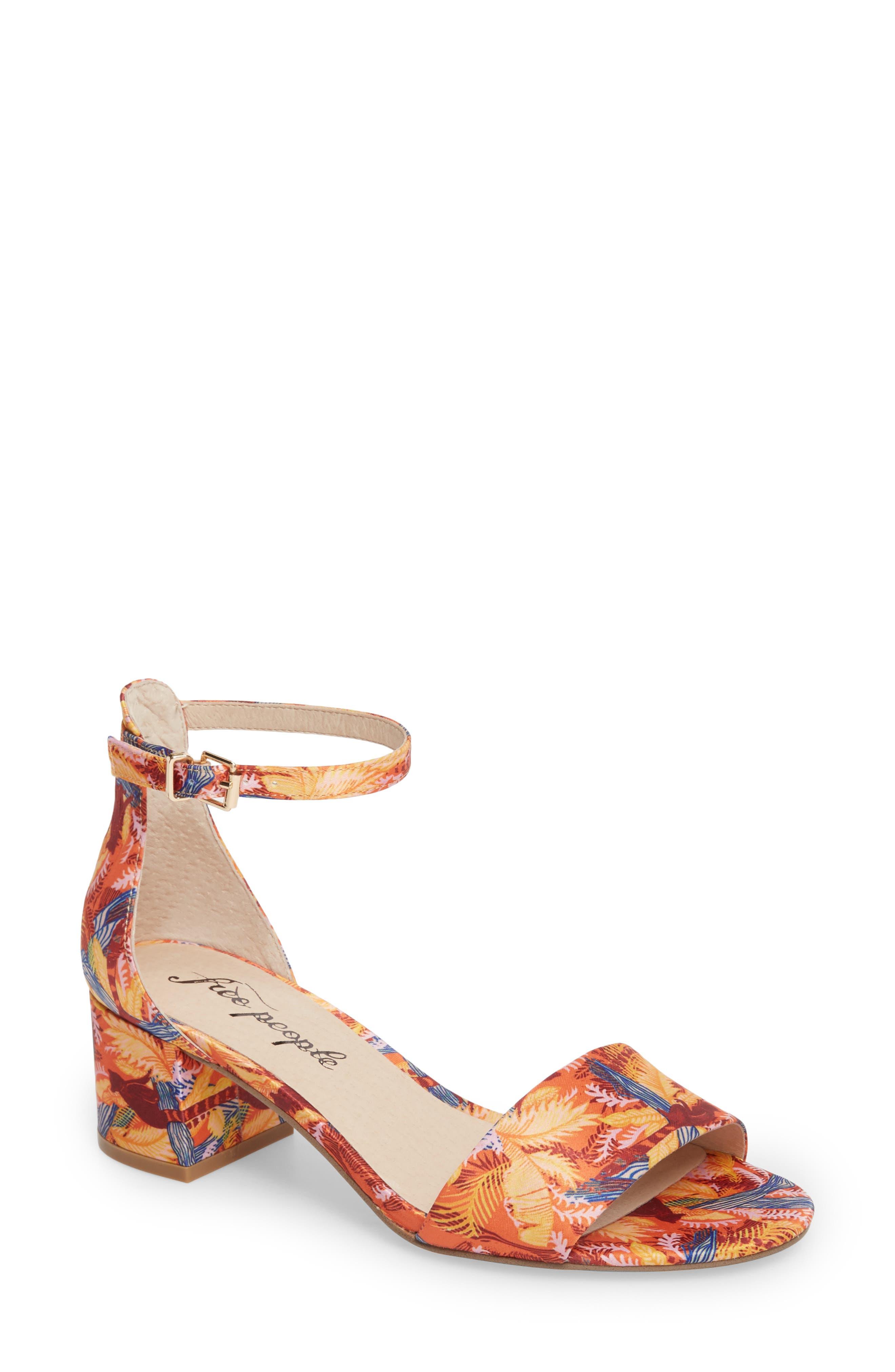 Marigold Block Heel Sandal,                             Main thumbnail 1, color,                             Orange Combo
