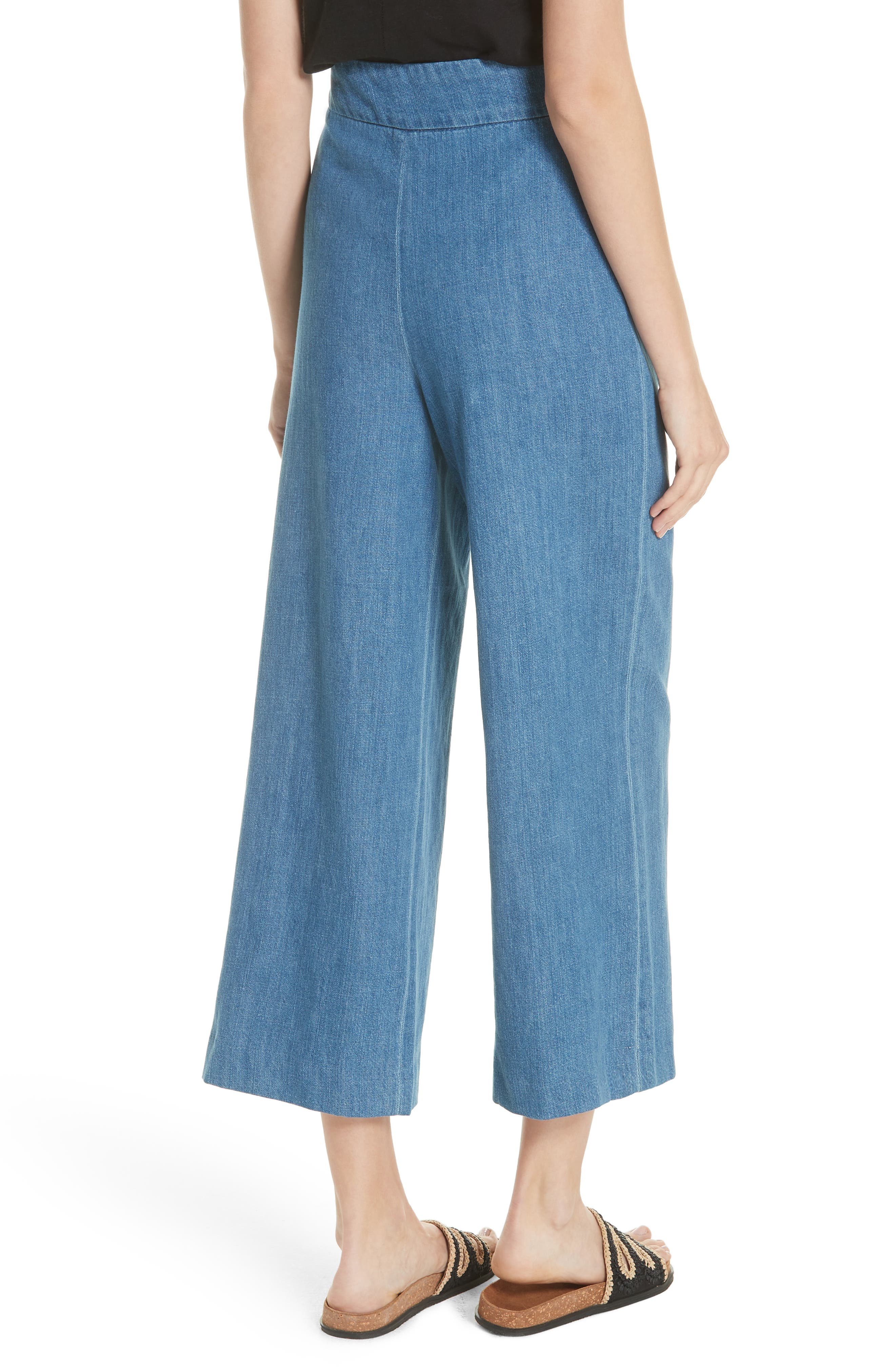 High Waist Crop Wide Leg Jeans,                             Alternate thumbnail 2, color,                             Blue