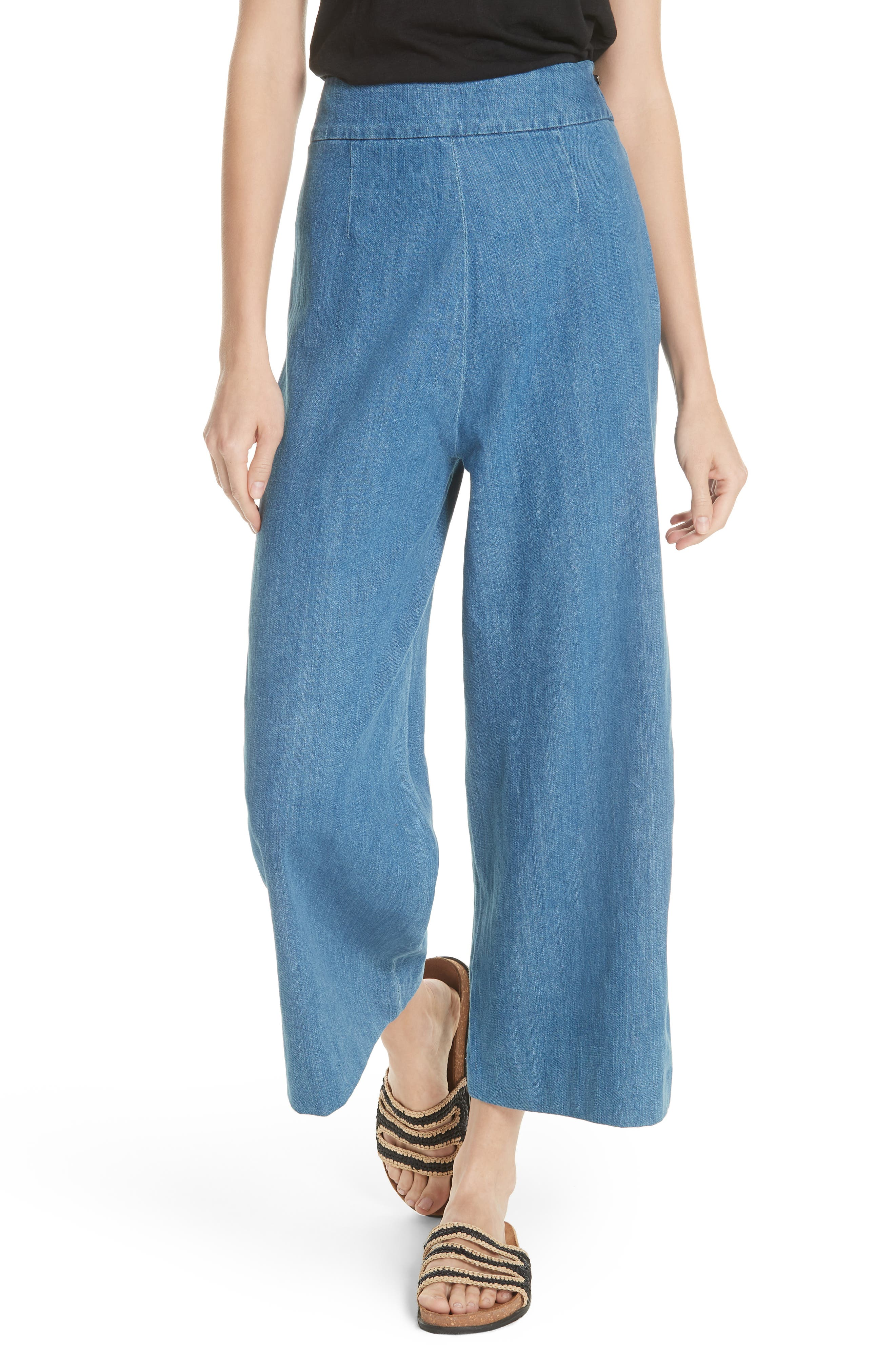 High Waist Crop Wide Leg Jeans,                             Alternate thumbnail 6, color,                             Blue