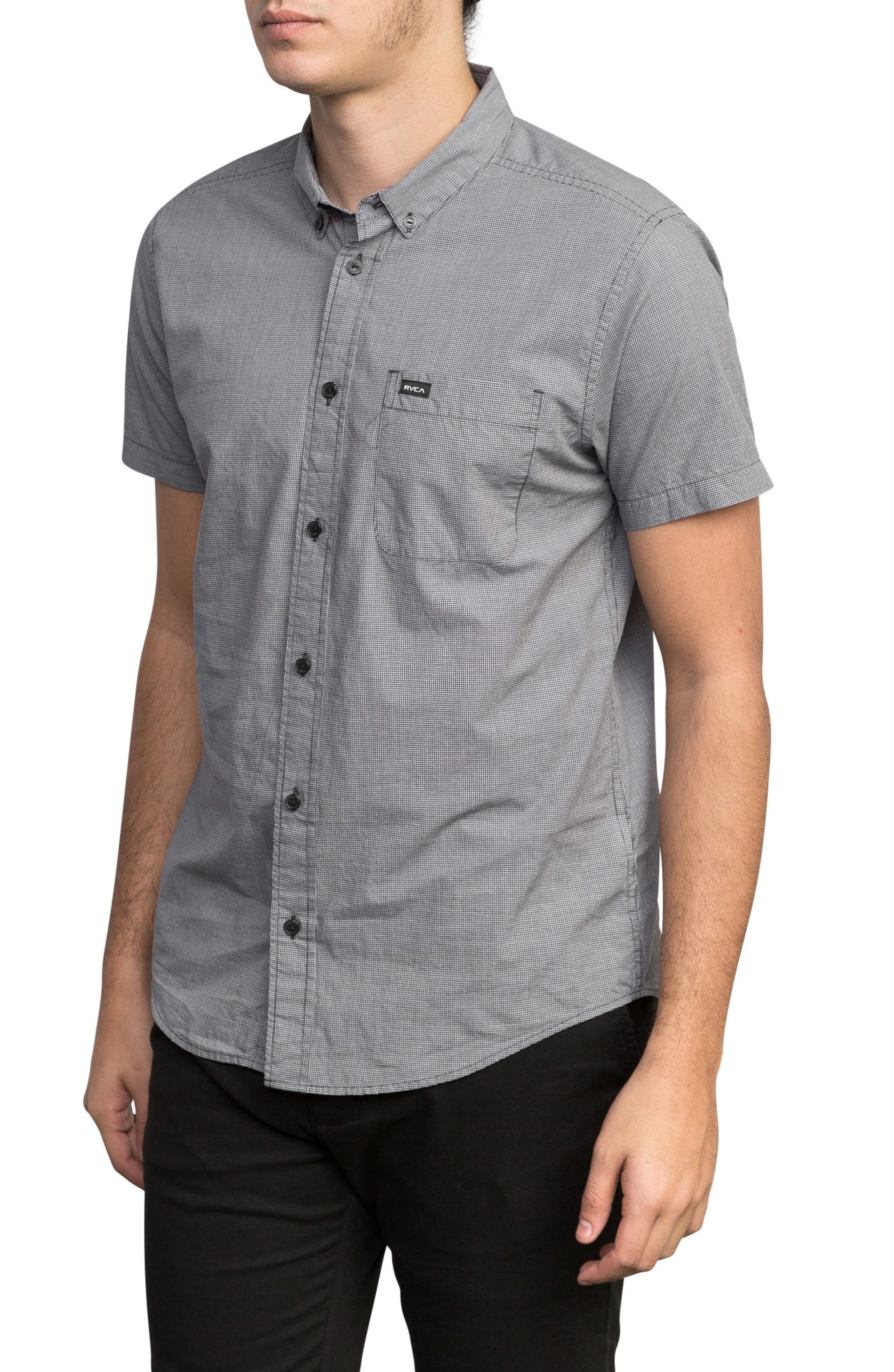 'That'll Do' Slim Fit Microdot Woven Shirt,                             Alternate thumbnail 3, color,                             Slate