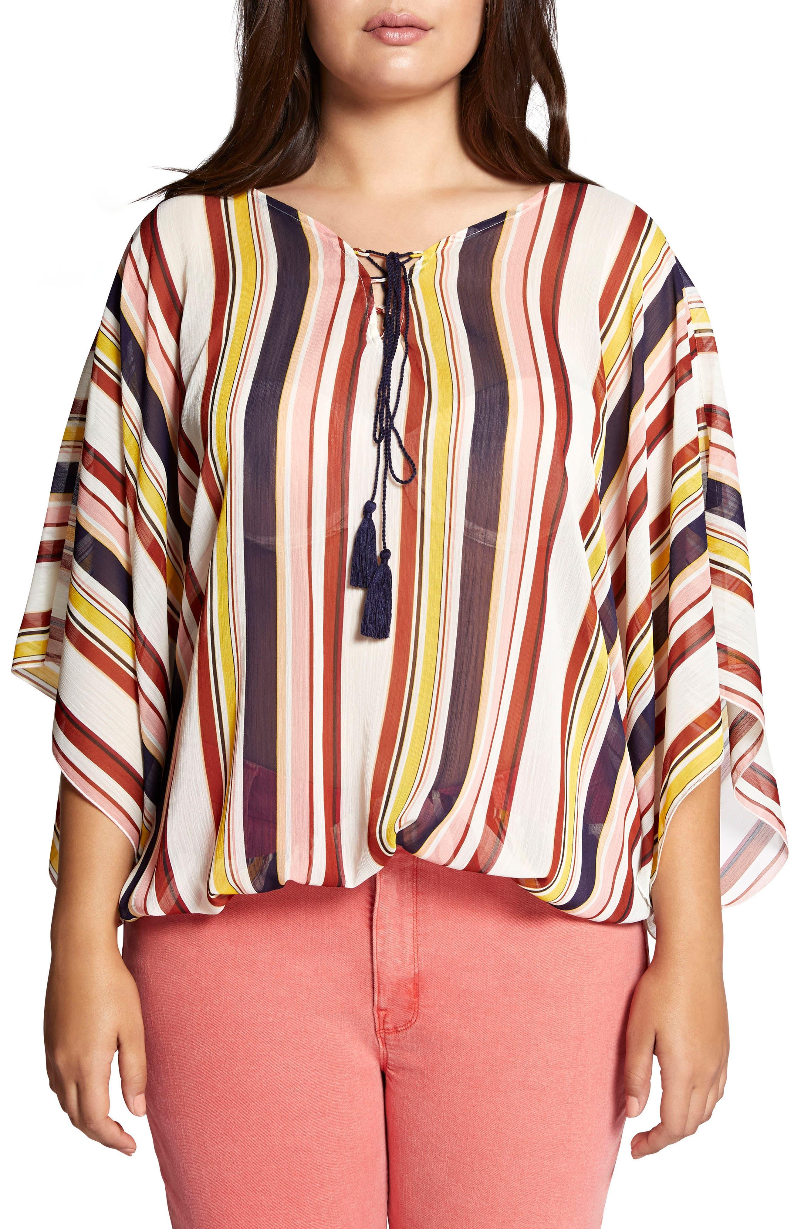 Poncho Top,                         Main,                         color, Horizon Stripe