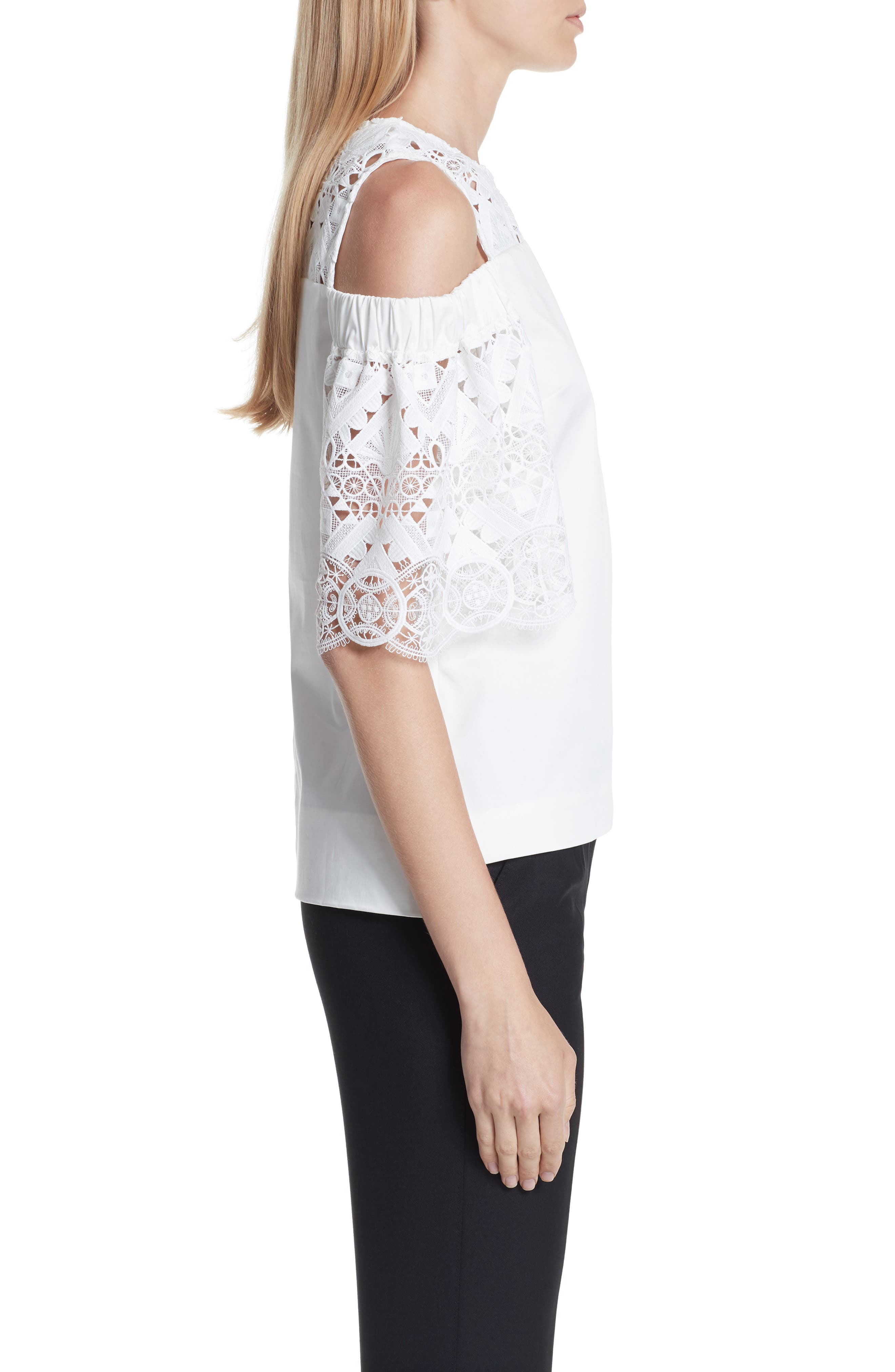 Taluah Mixed Lace Cold Shoulder Blouse,                             Alternate thumbnail 3, color,                             White
