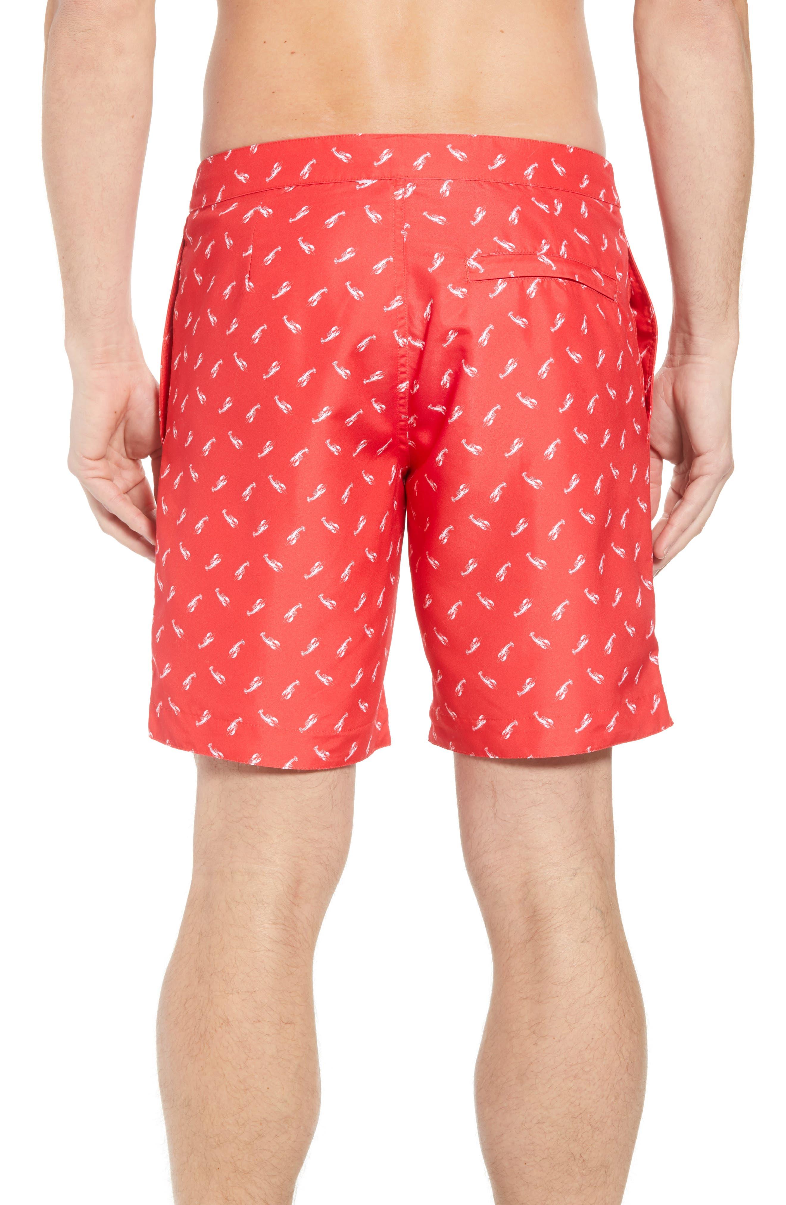 Aruba Slim Fit Swim Trunks,                             Alternate thumbnail 2, color,                             Red Lobsters Print