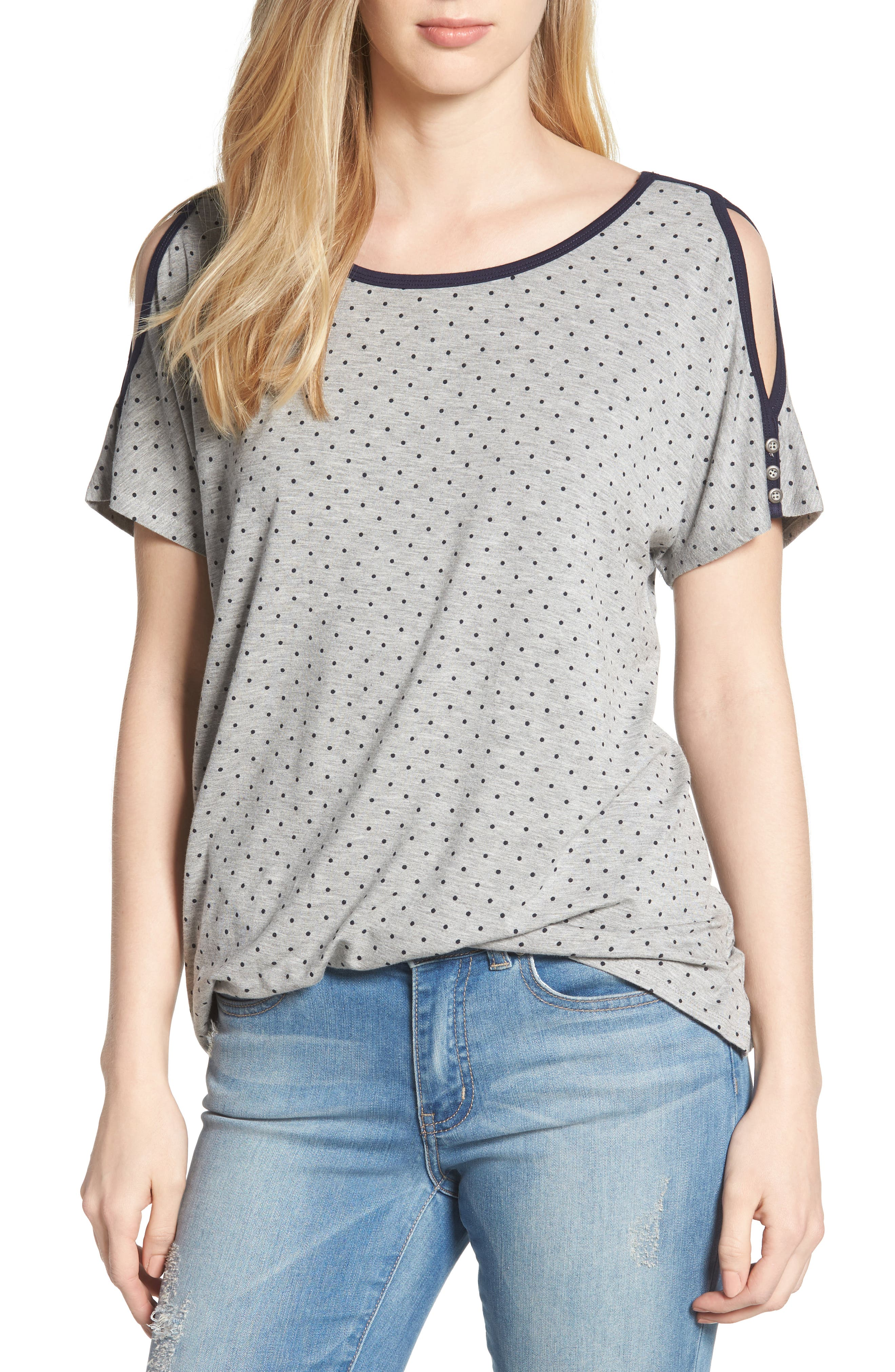 Polka Dot Twist Front Cold Shoulder Top,                         Main,                         color, Heather Grey