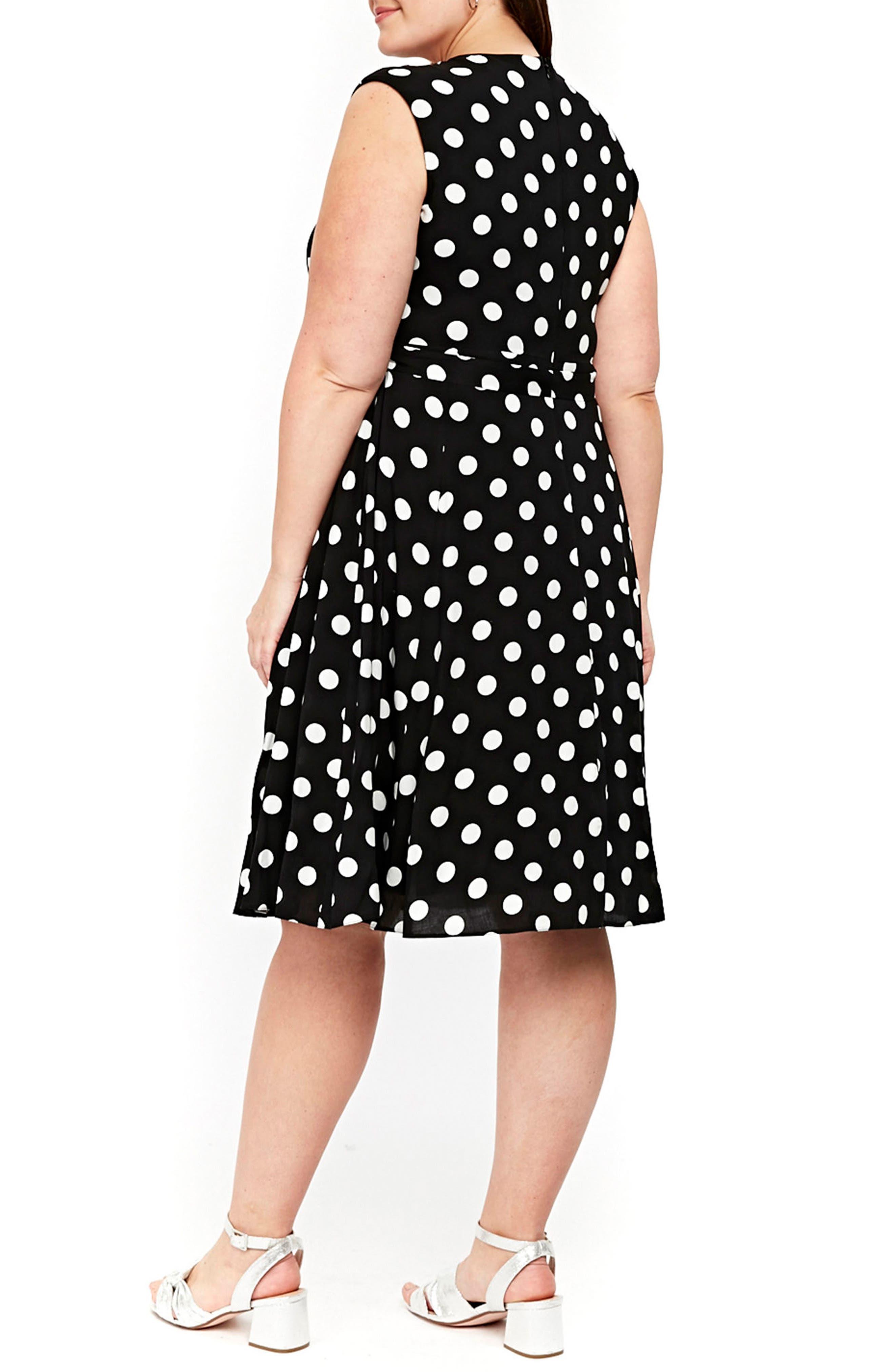 Dot Tie Waist A-Line Dress,                             Alternate thumbnail 2, color,                             Dark Multi