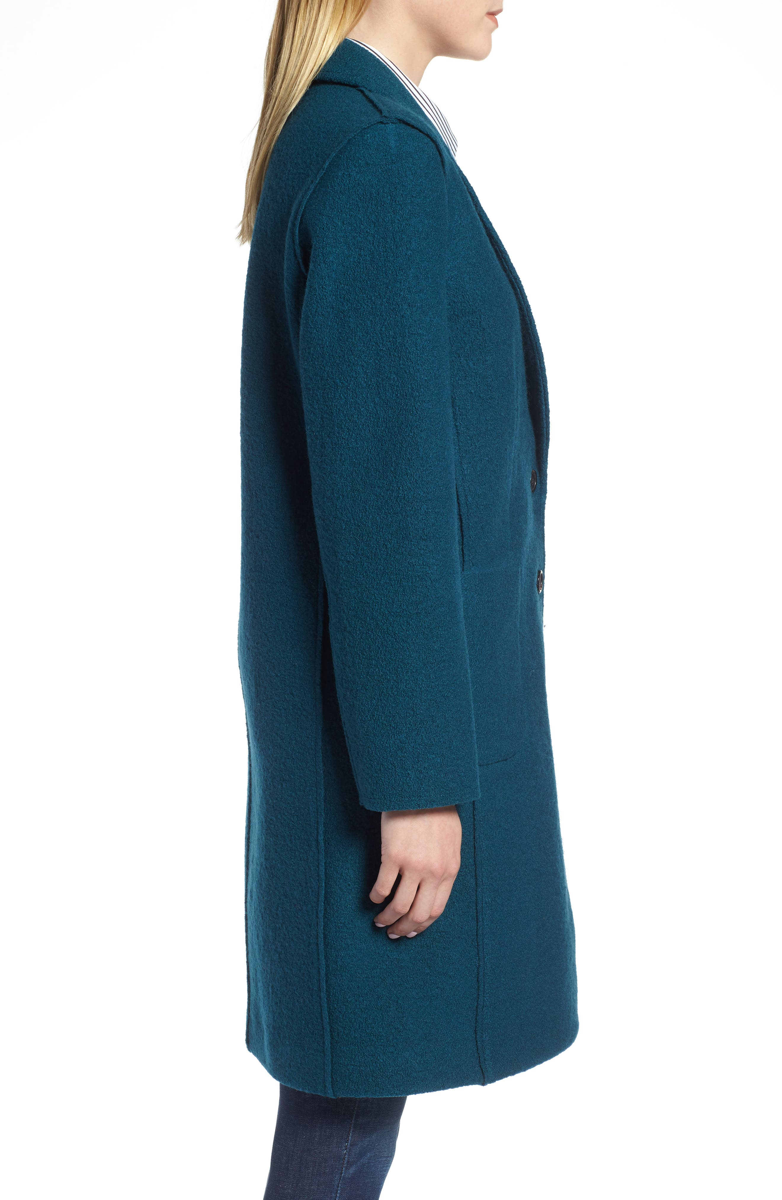 Olga Boiled Wool Topcoat,                             Alternate thumbnail 3, color,                             Winter Pine