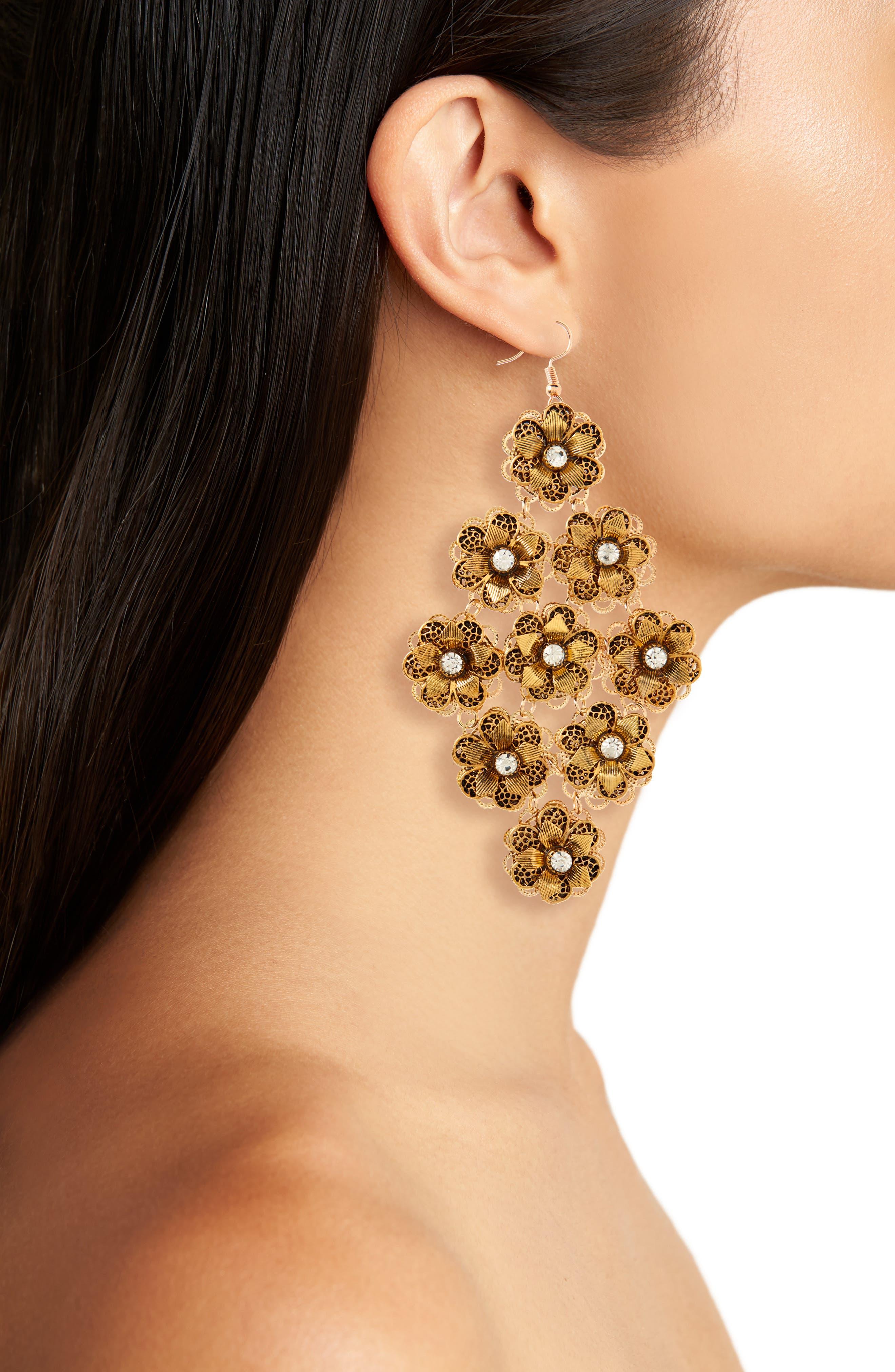Floral Chandelier Drops,                             Alternate thumbnail 2, color,                             Burnish Gold