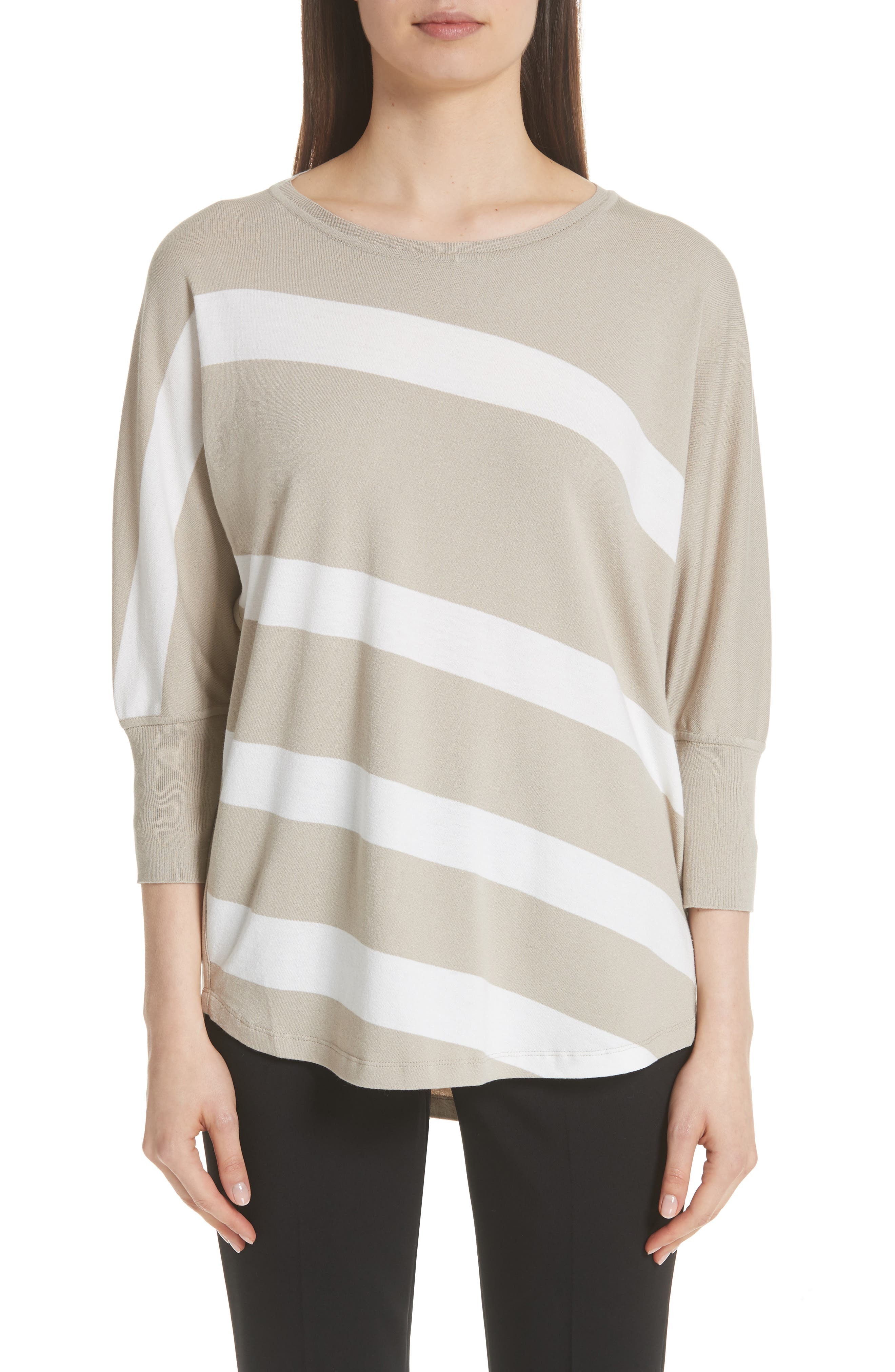 Stripe Sweater,                         Main,                         color, Khaki/ Cloud