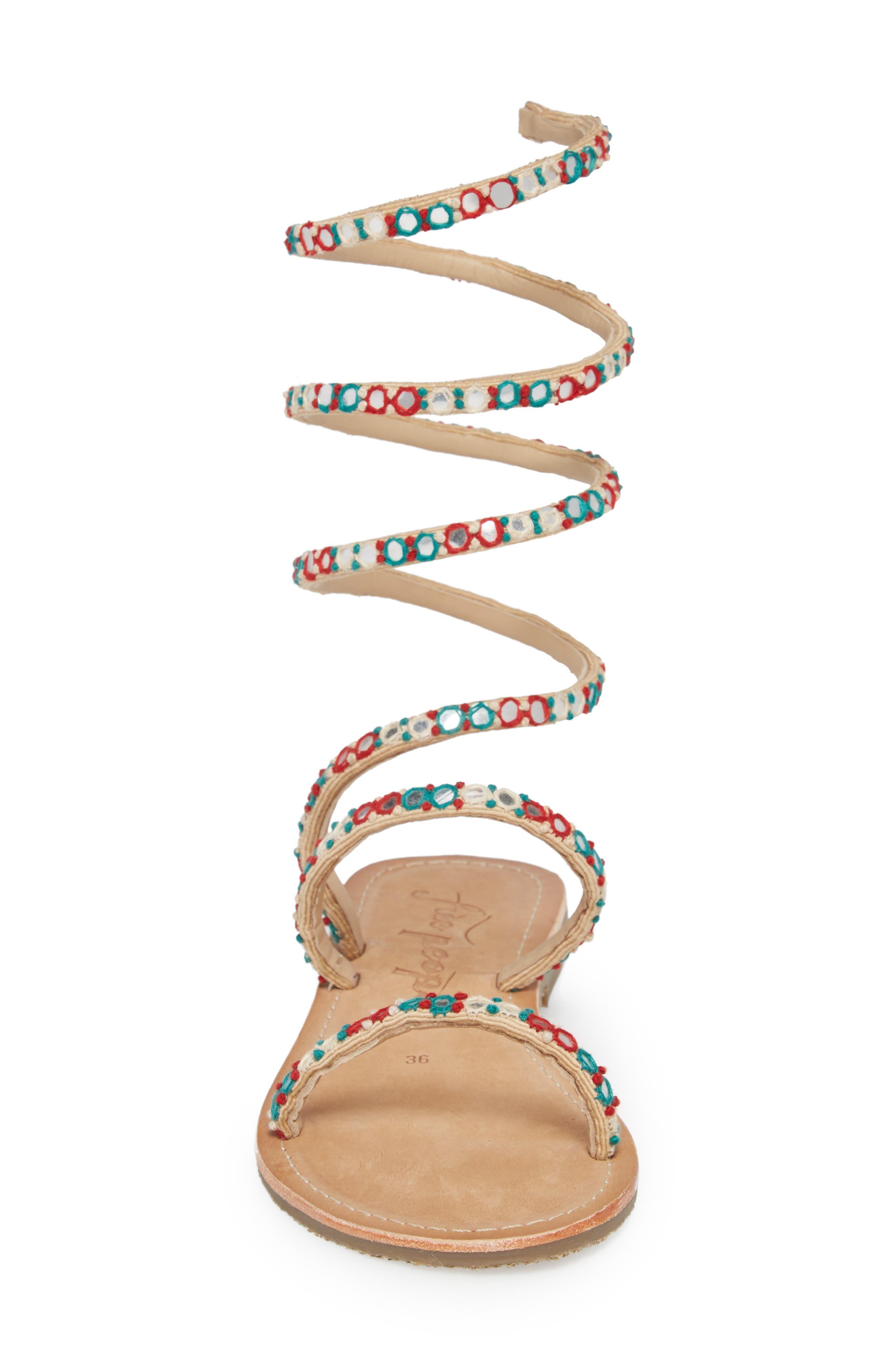 Havana Embellished Wraparound Gladiator Sandal,                             Alternate thumbnail 4, color,                             Natural