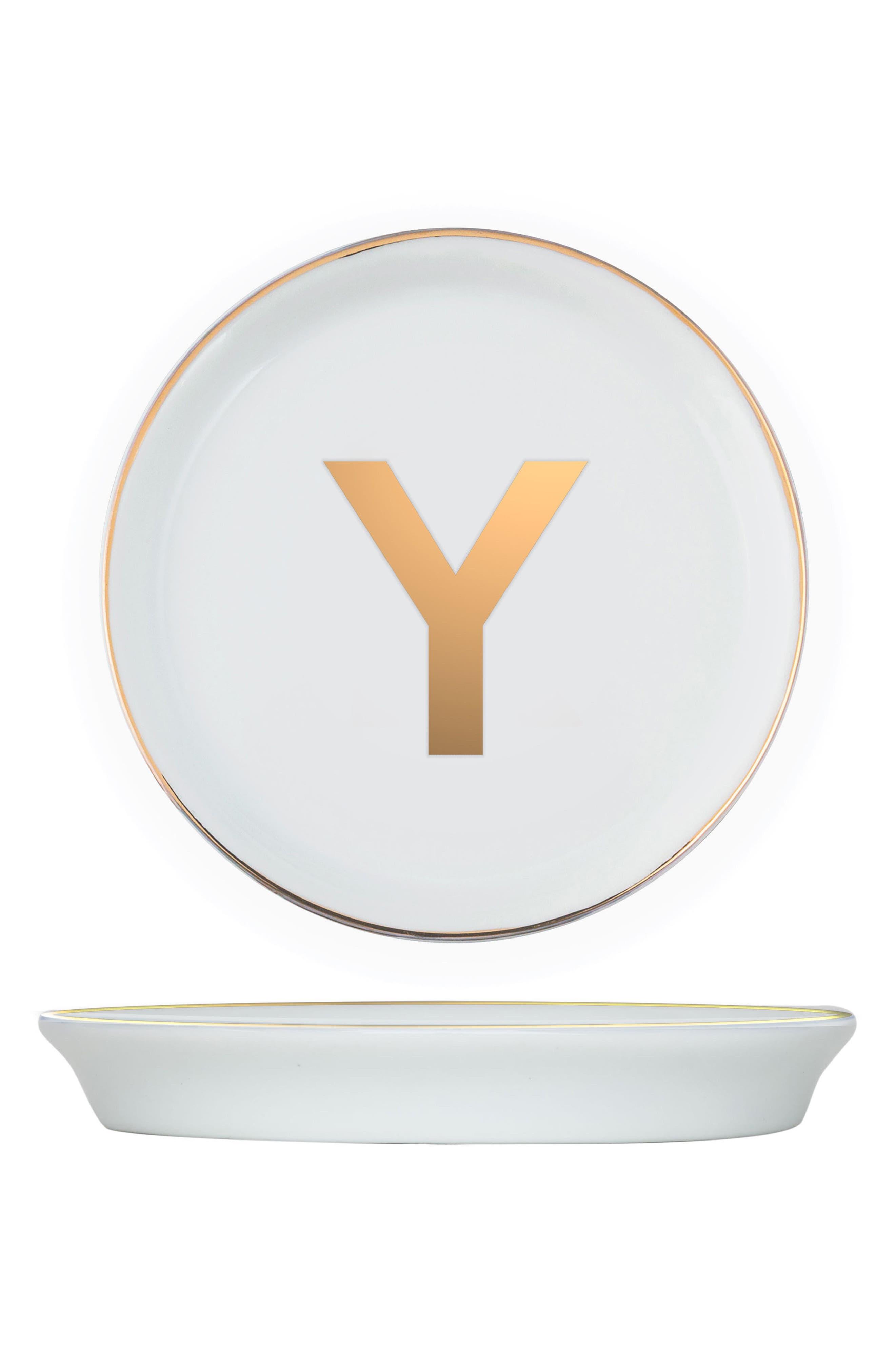 Brooklyn Set of 4 Porcelain Initial Coasters,                             Main thumbnail 1, color,                             Y