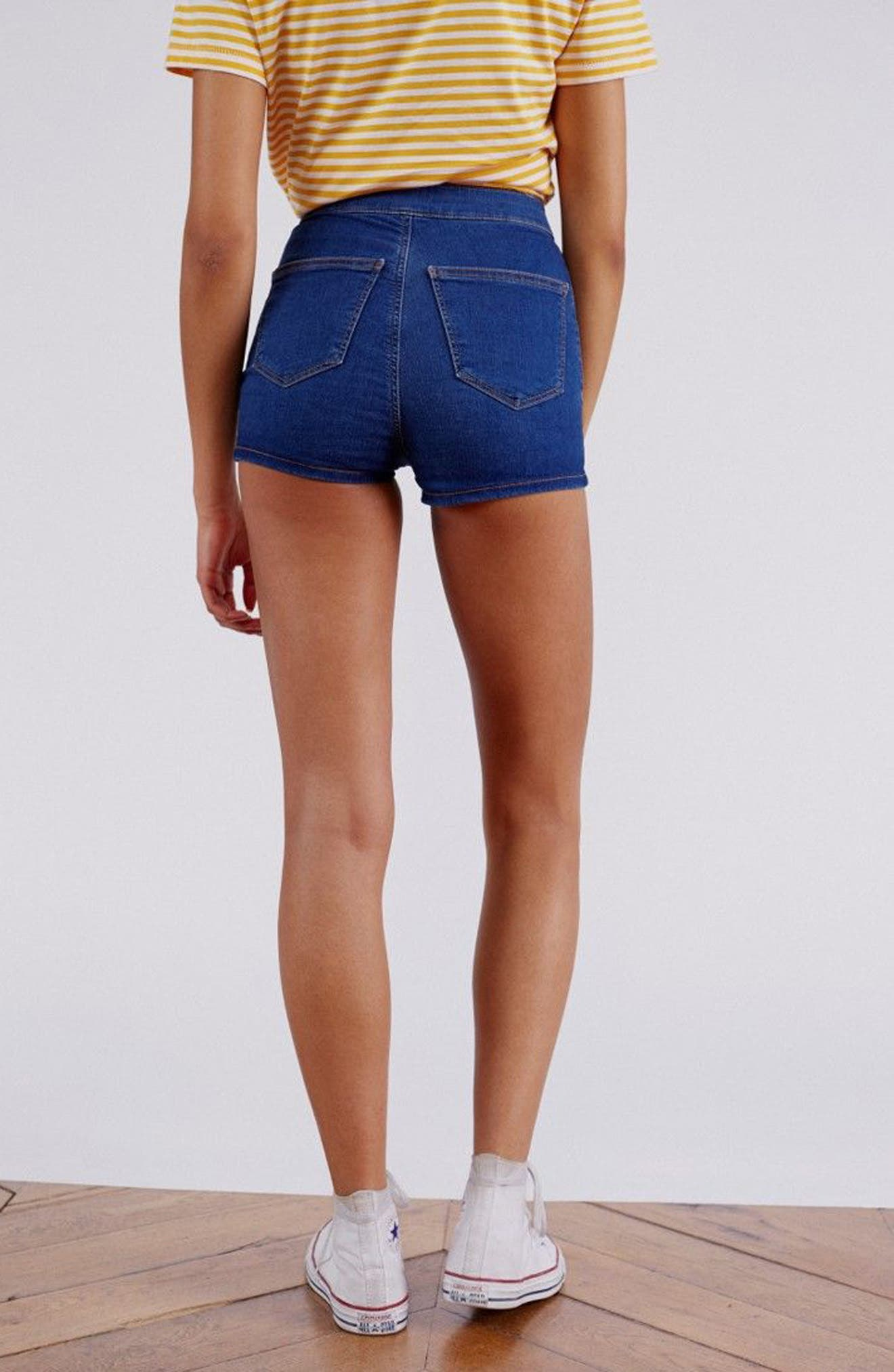 MOTO Joni Mid Denim Shorts,                             Alternate thumbnail 2, color,                             Mid Denim