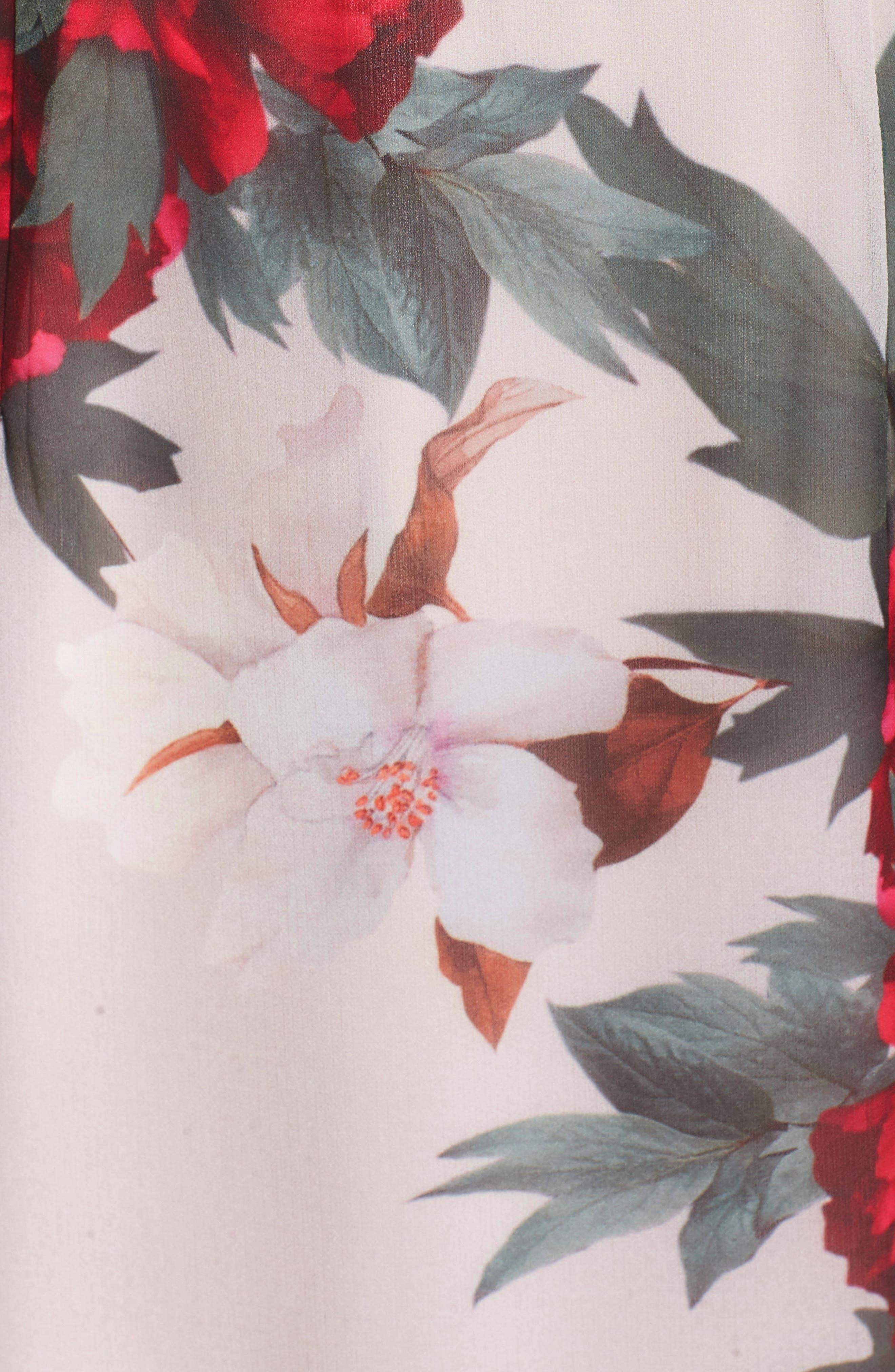 Rosa High Neck Ruffle Hem Dress,                             Alternate thumbnail 6, color,                             Print