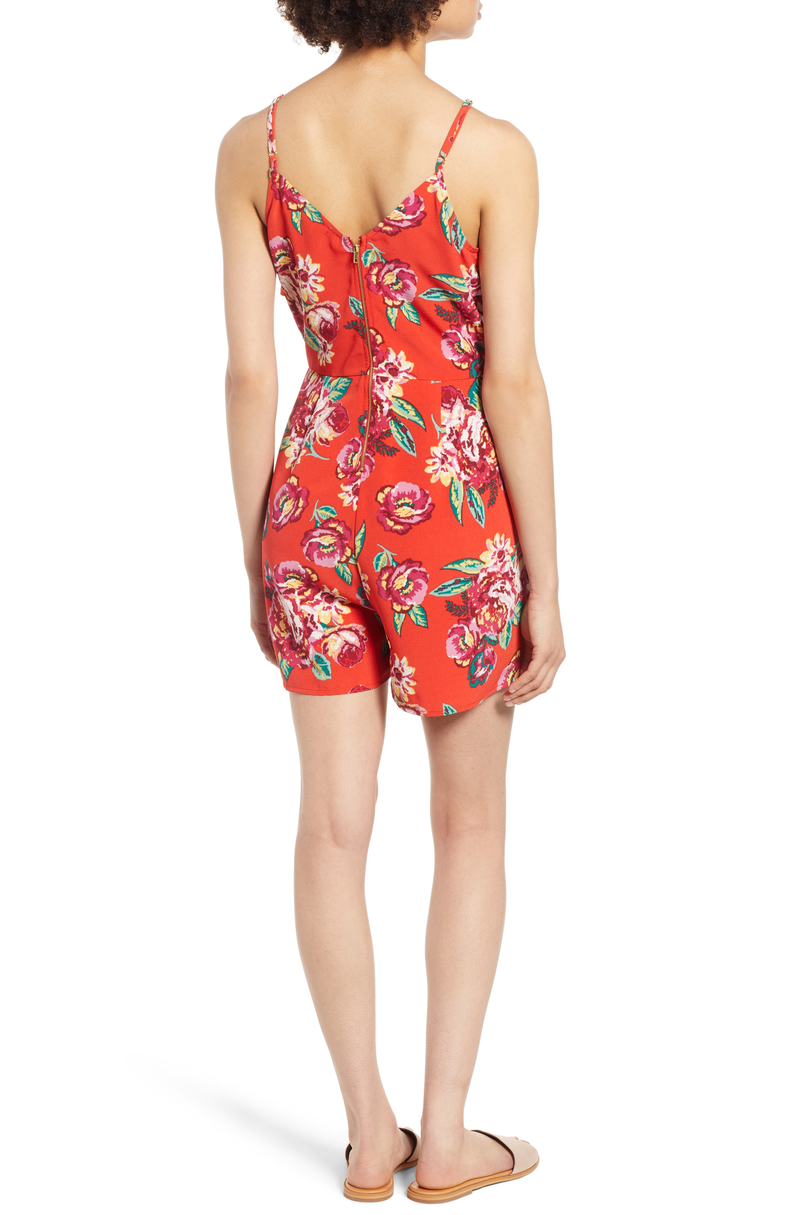 Floral Wrap Style Romper,                             Alternate thumbnail 2, color,                             Red Lipstick Summer Floral