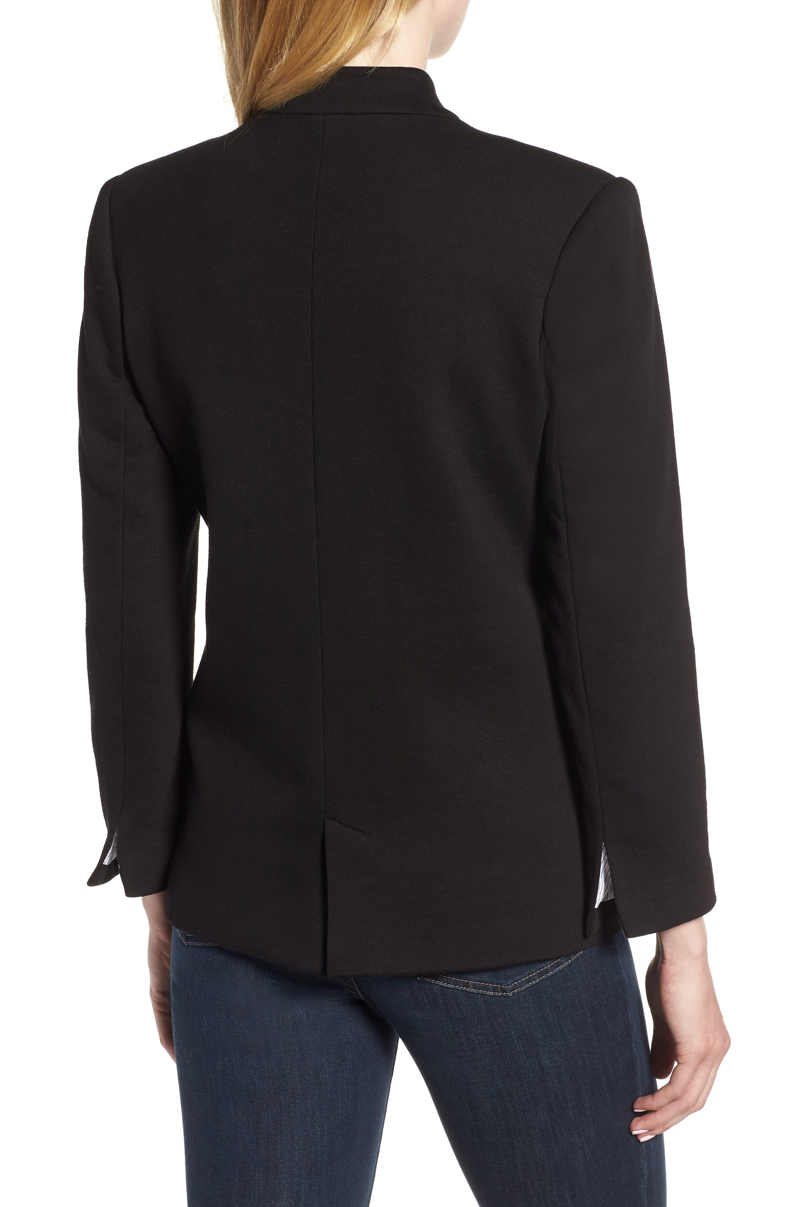 Cotton Blend Knit Blazer,                             Alternate thumbnail 2, color,                             Black