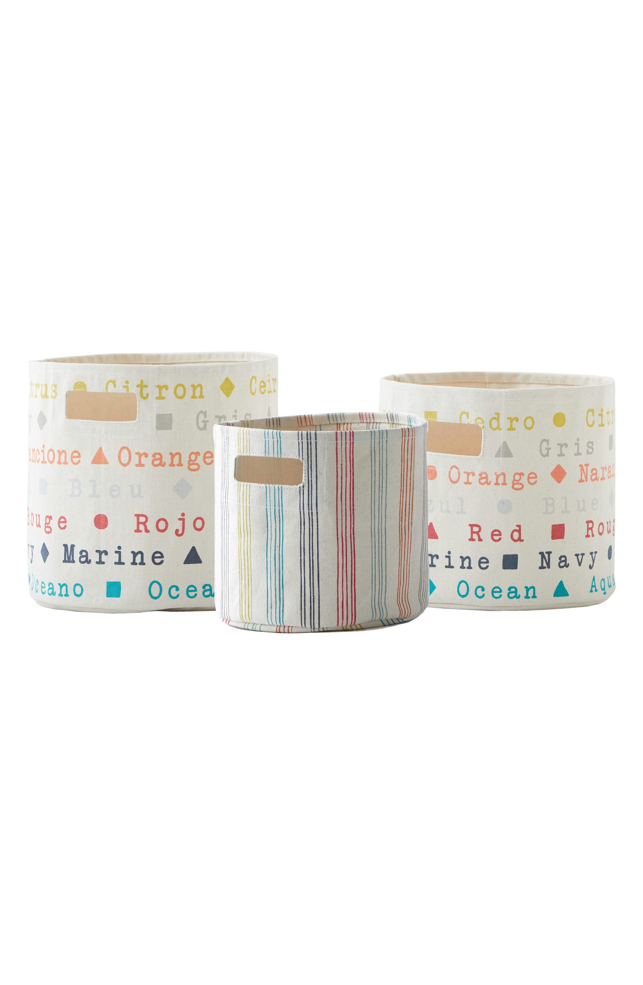 Set of 3 Canvas Bins,                         Main,                         color, Ivory Multi