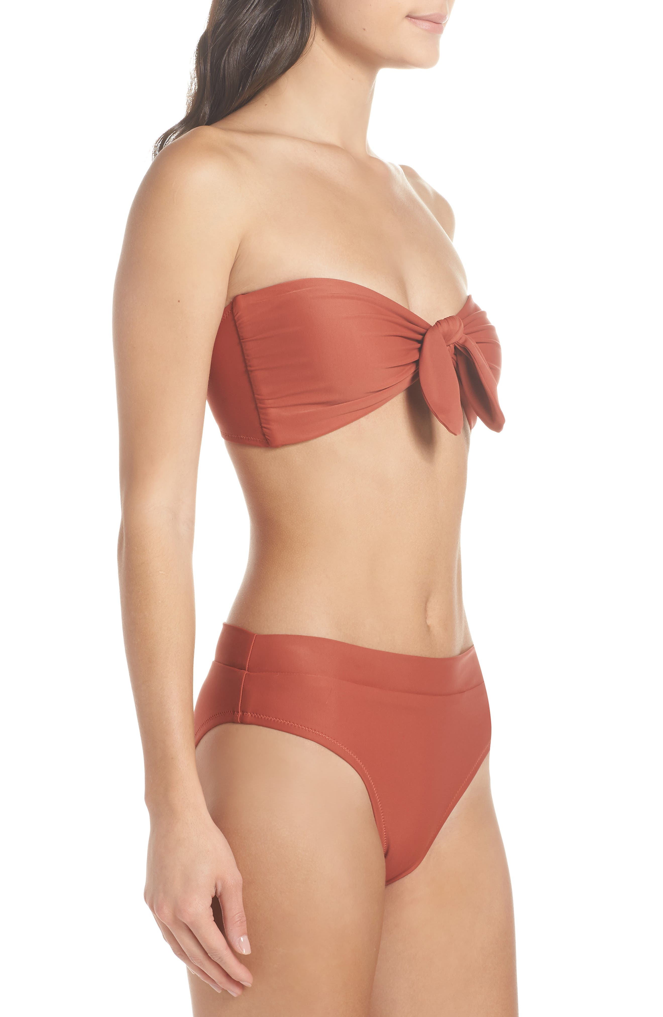 Fairfax Bandeau Bikini Top,                             Alternate thumbnail 7, color,                             Copper