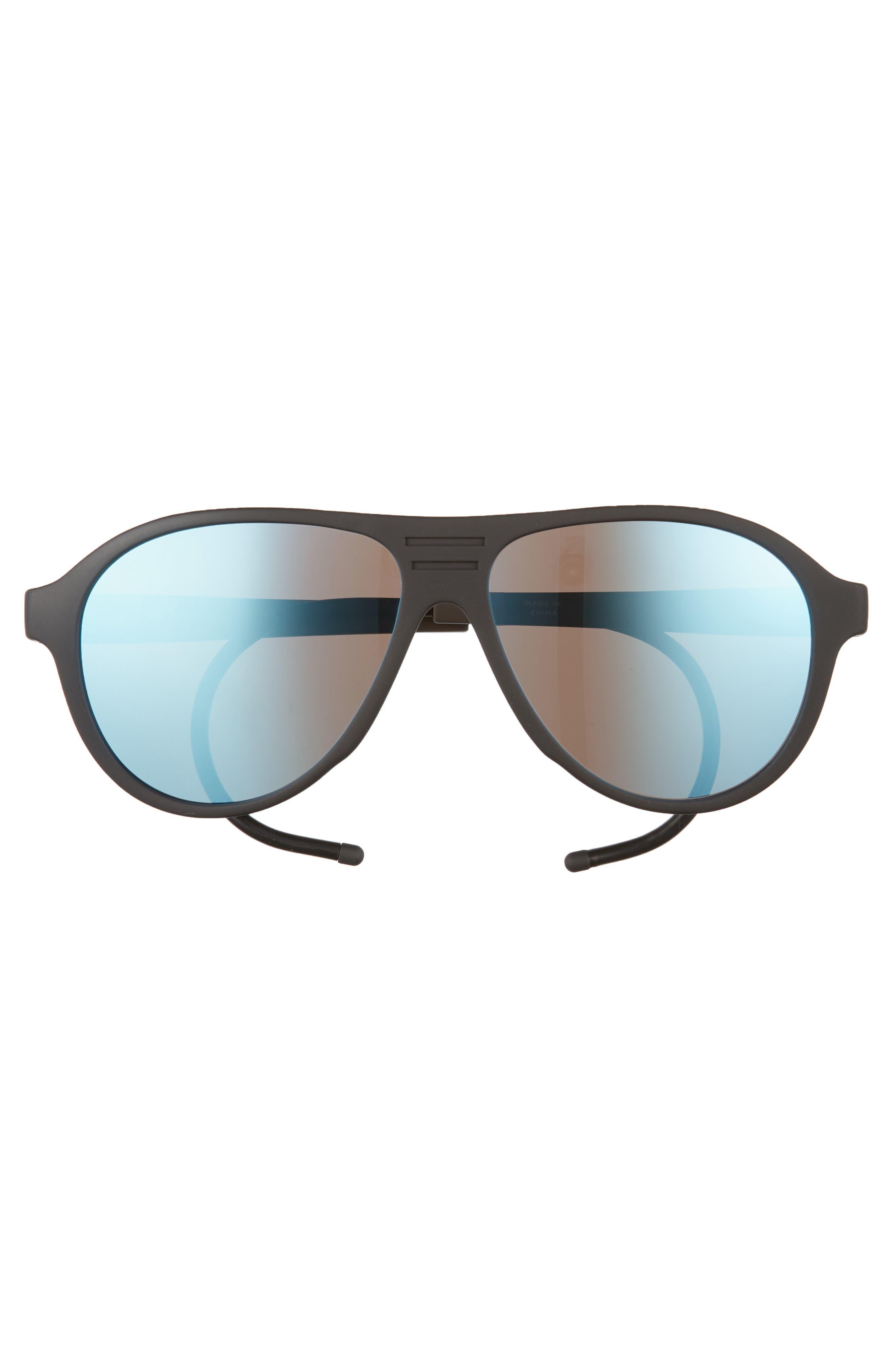 Traveler Zion 58mm Polarized Aviator Sunglasses,                             Alternate thumbnail 2, color,                             Matte Black/ Blue Mirror