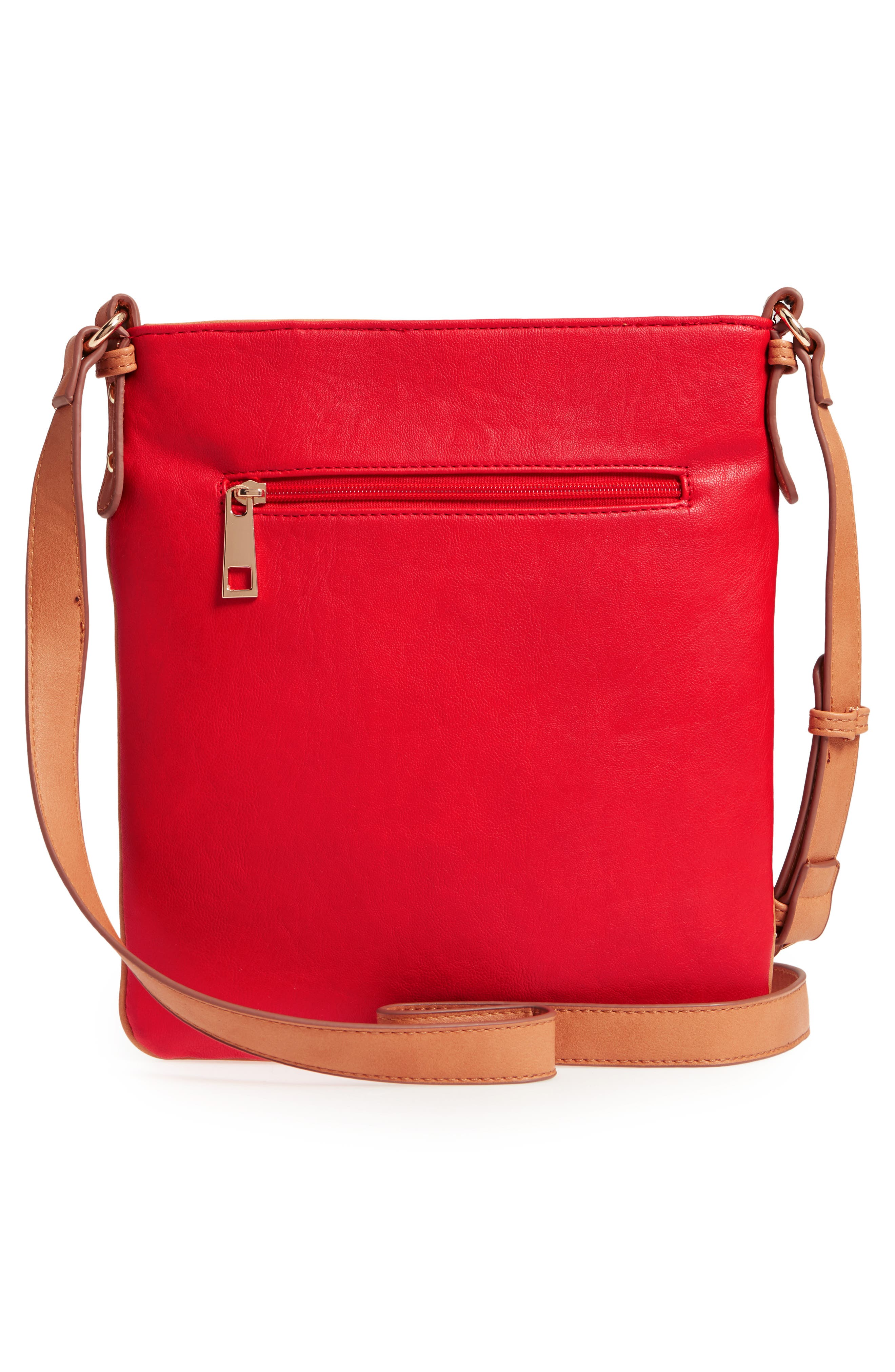 Nylon & Faux Leather Crossbody Bag,                             Alternate thumbnail 3, color,                             Red