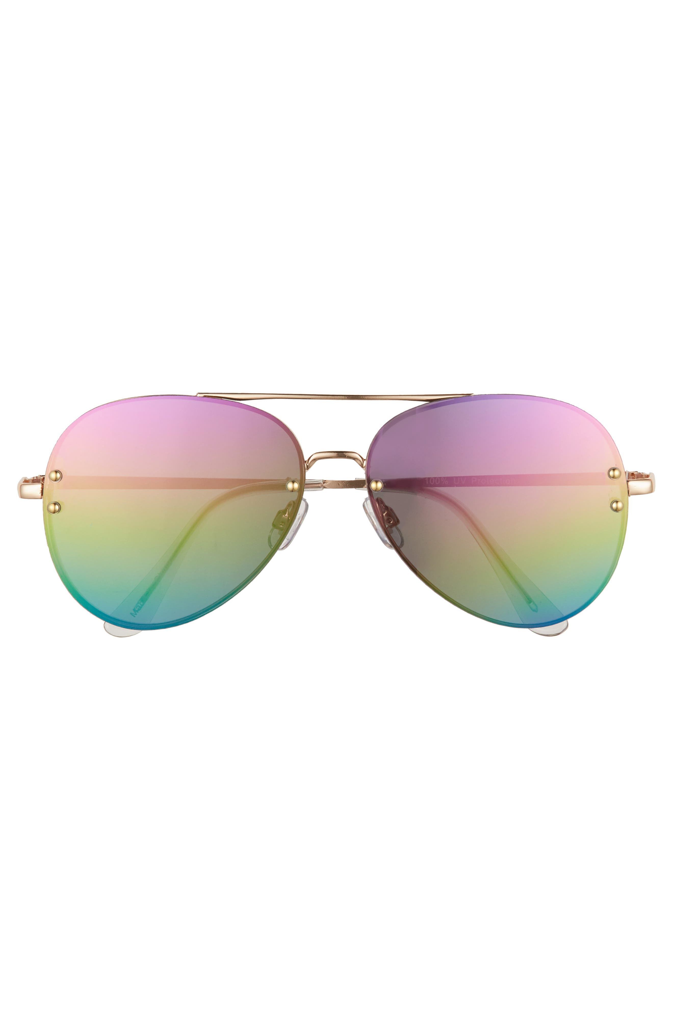 60mm Oversize Mirrored Aviator Sunglasses,                             Alternate thumbnail 3, color,                             Gold/Rainbow