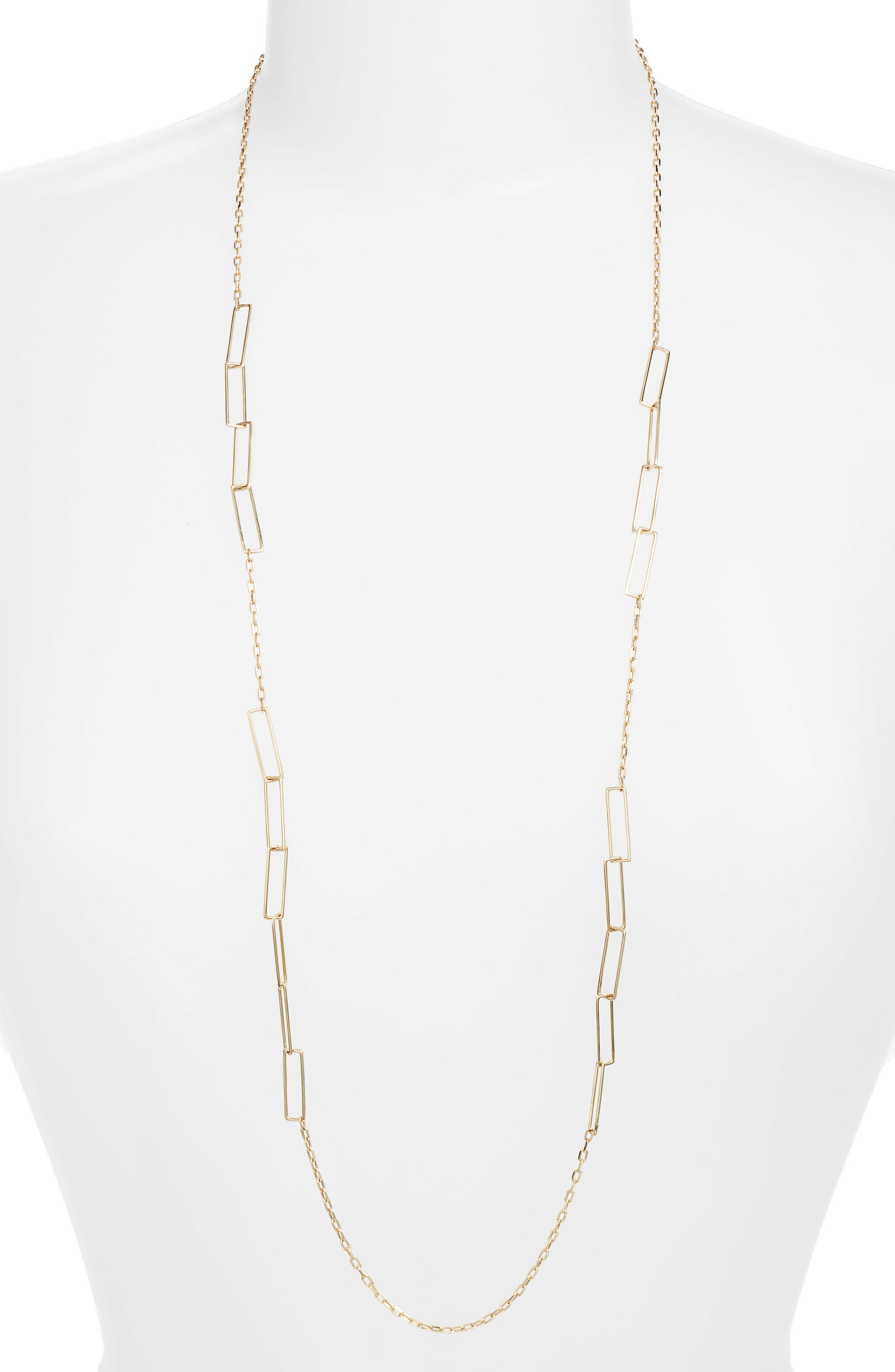 Long Link Chain Necklace,                             Main thumbnail 1, color,                             Yellow Gold