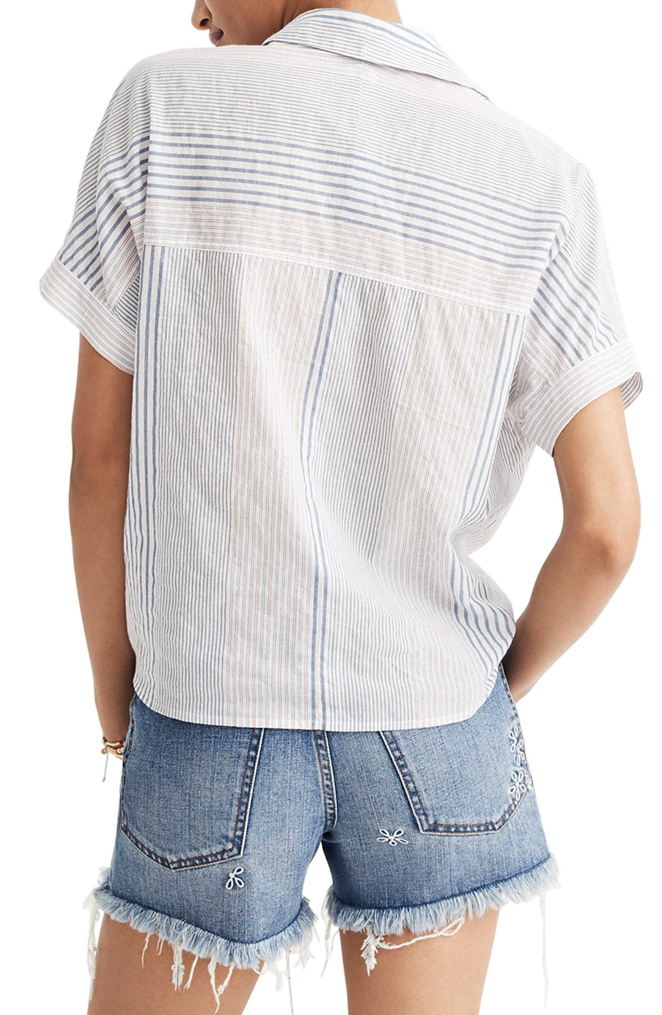 Stripe Tie Front Short Sleeve Shirt,                             Alternate thumbnail 2, color,                             Tulum Blue