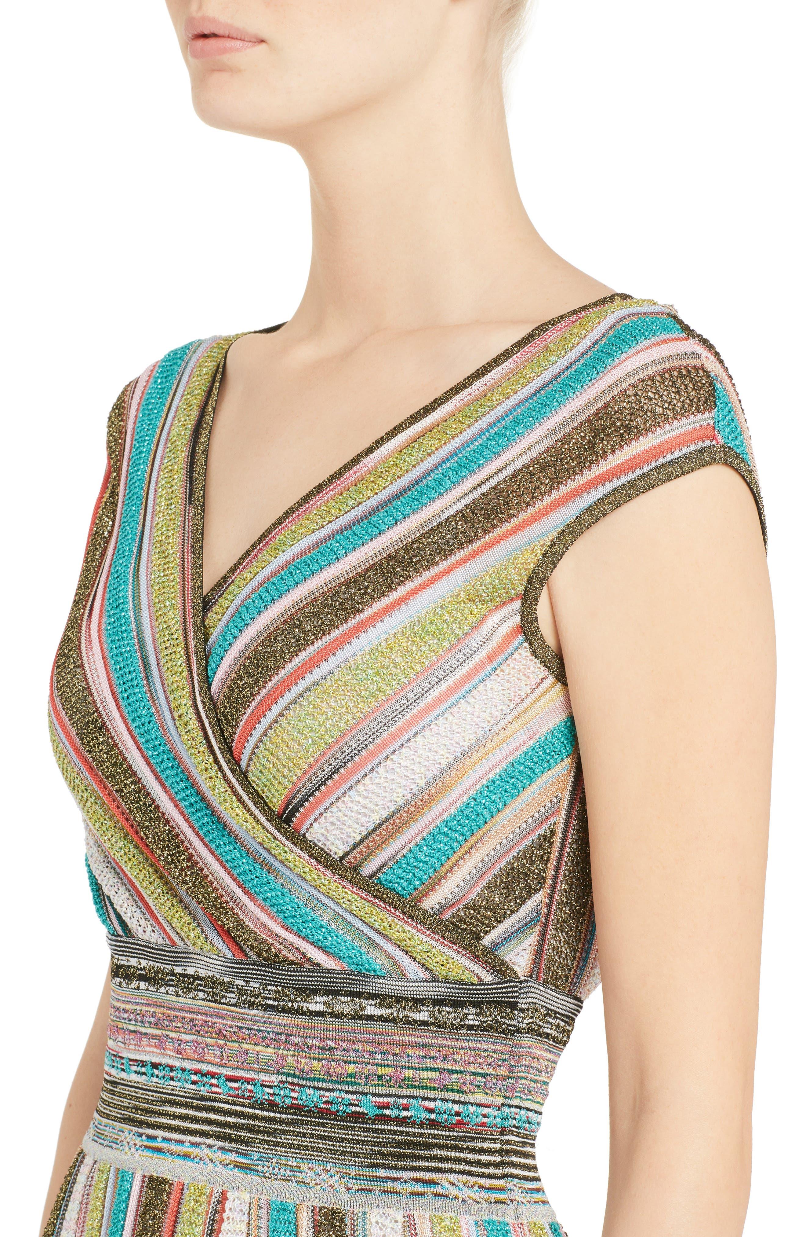 Metallic Stripe Dress,                             Alternate thumbnail 4, color,                             Multi