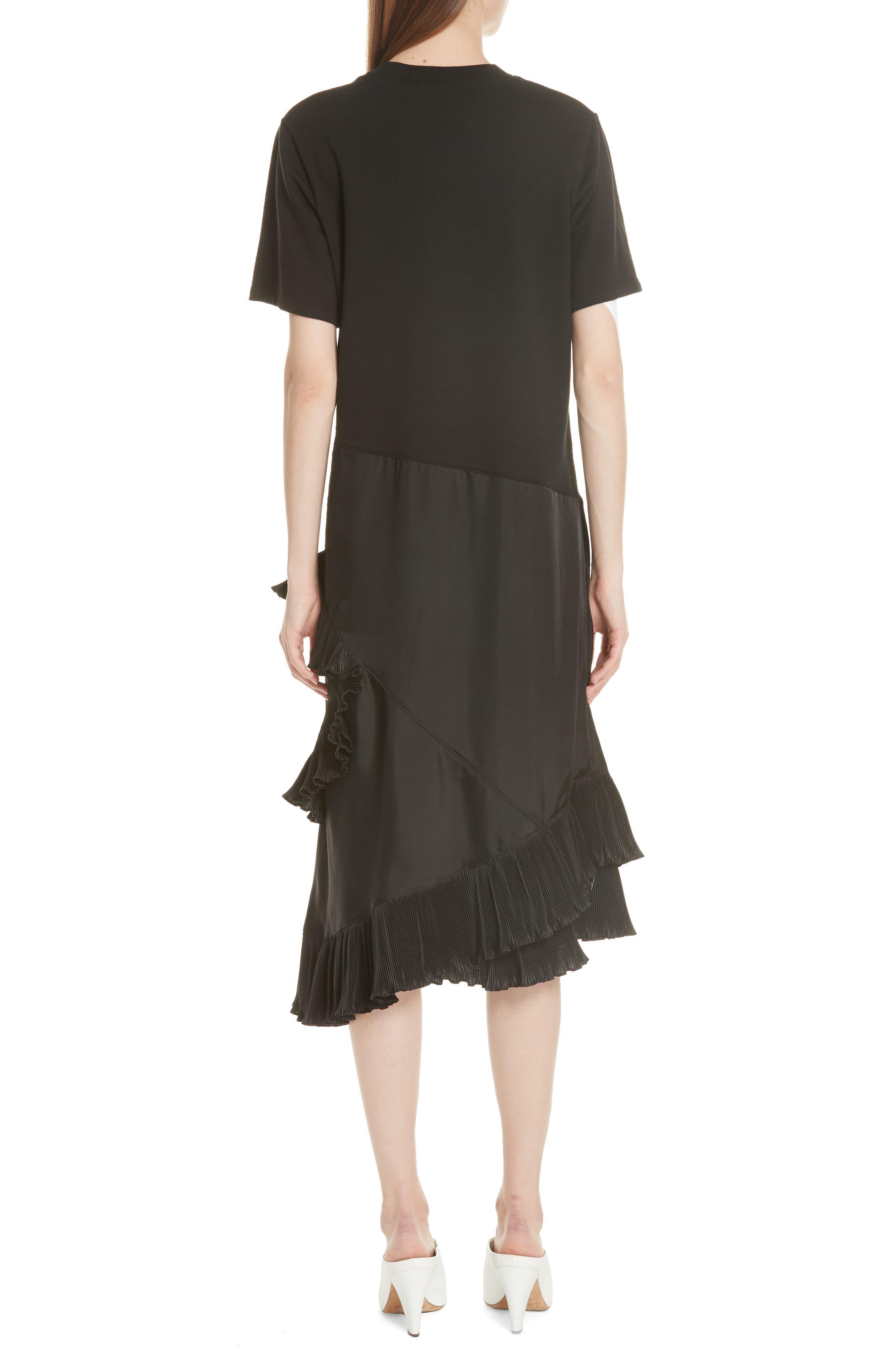 Pleat Ruffle Trim Asymmetrical Dress,                             Alternate thumbnail 2, color,                             Black/ Black
