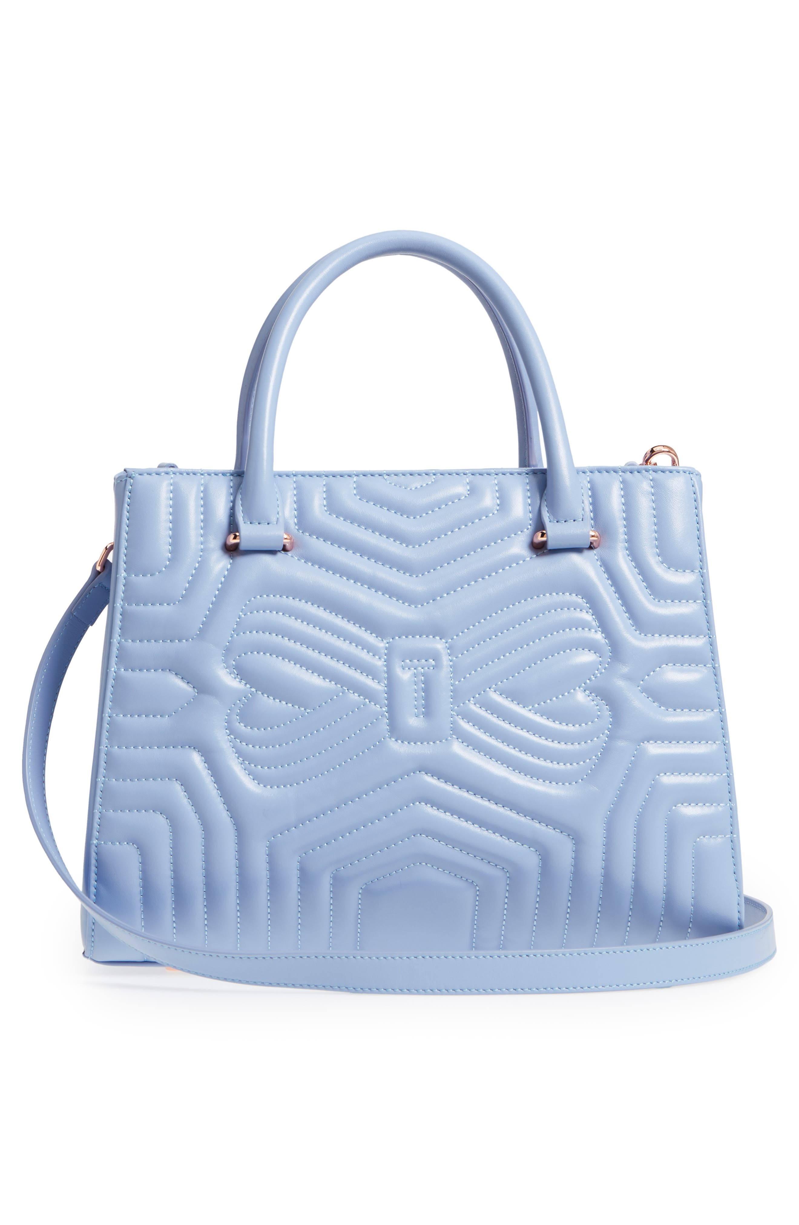 Quilted Bow Leather Tote,                             Alternate thumbnail 3, color,                             Blue
