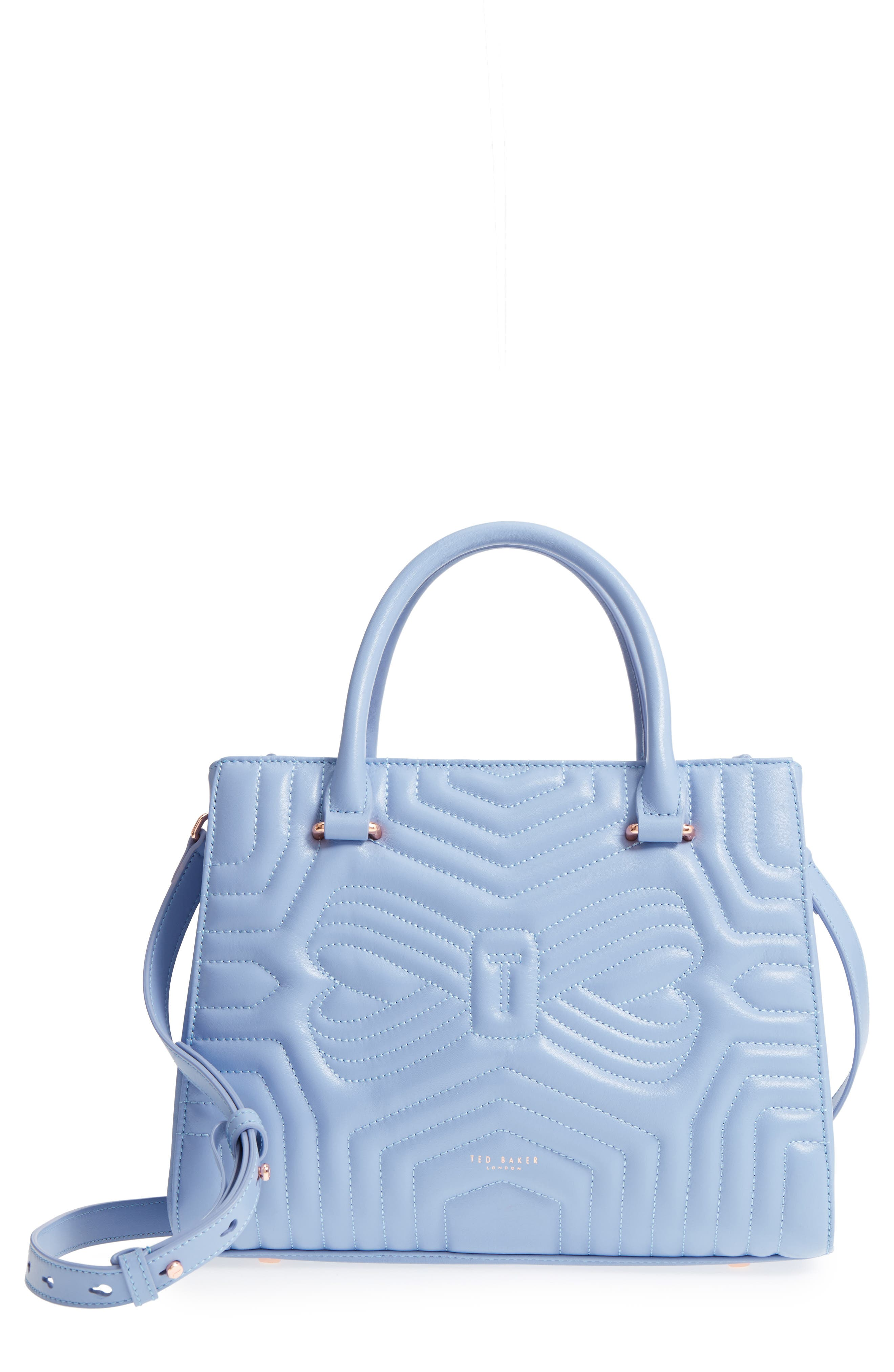 Quilted Bow Leather Tote,                             Main thumbnail 1, color,                             Blue
