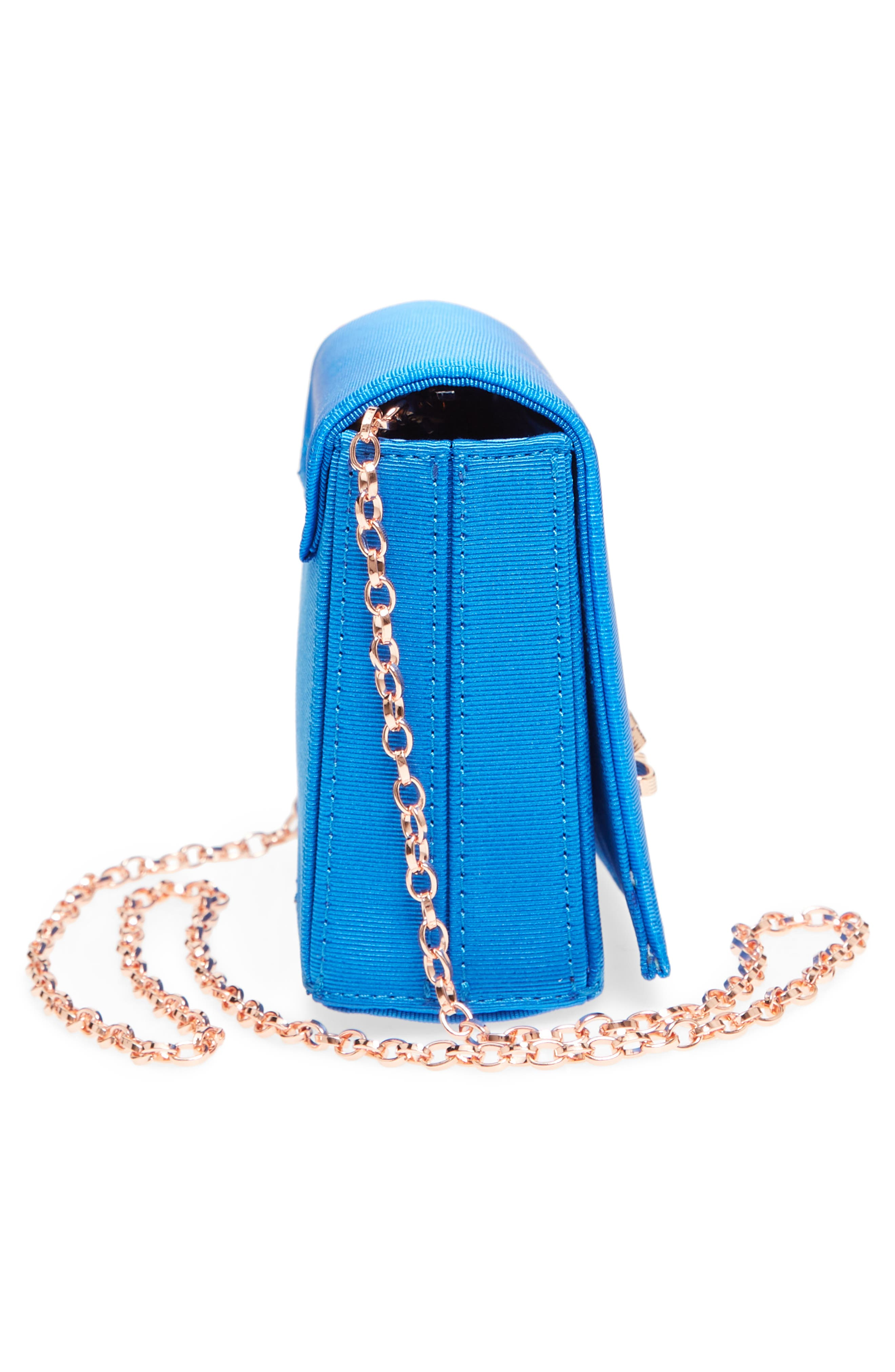 Harmony Print Evening Bag,                             Alternate thumbnail 5, color,                             Bright Blue
