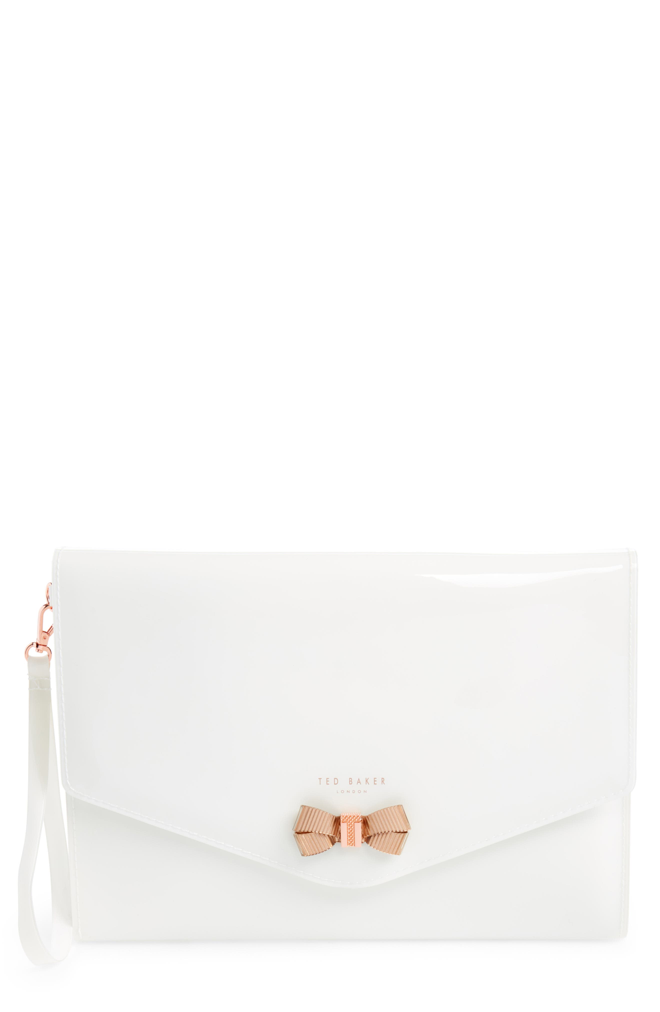 Luanne Envelope Clutch,                         Main,                         color, White