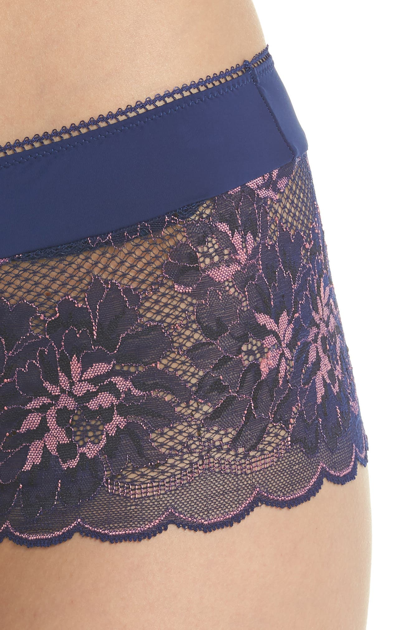 Lace Boyshorts,                             Alternate thumbnail 8, color,                             Blue Depths/ Cameo Pink