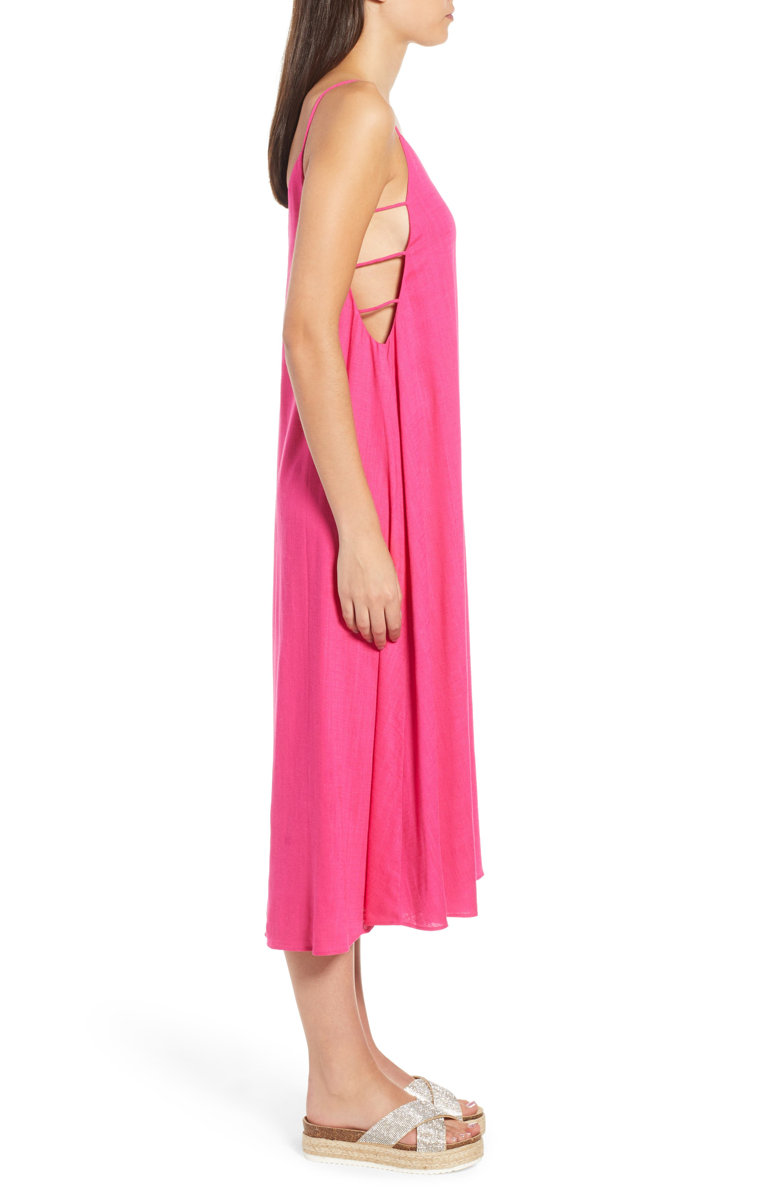 Trapeze Dress,                             Alternate thumbnail 4, color,                             Fuchsia