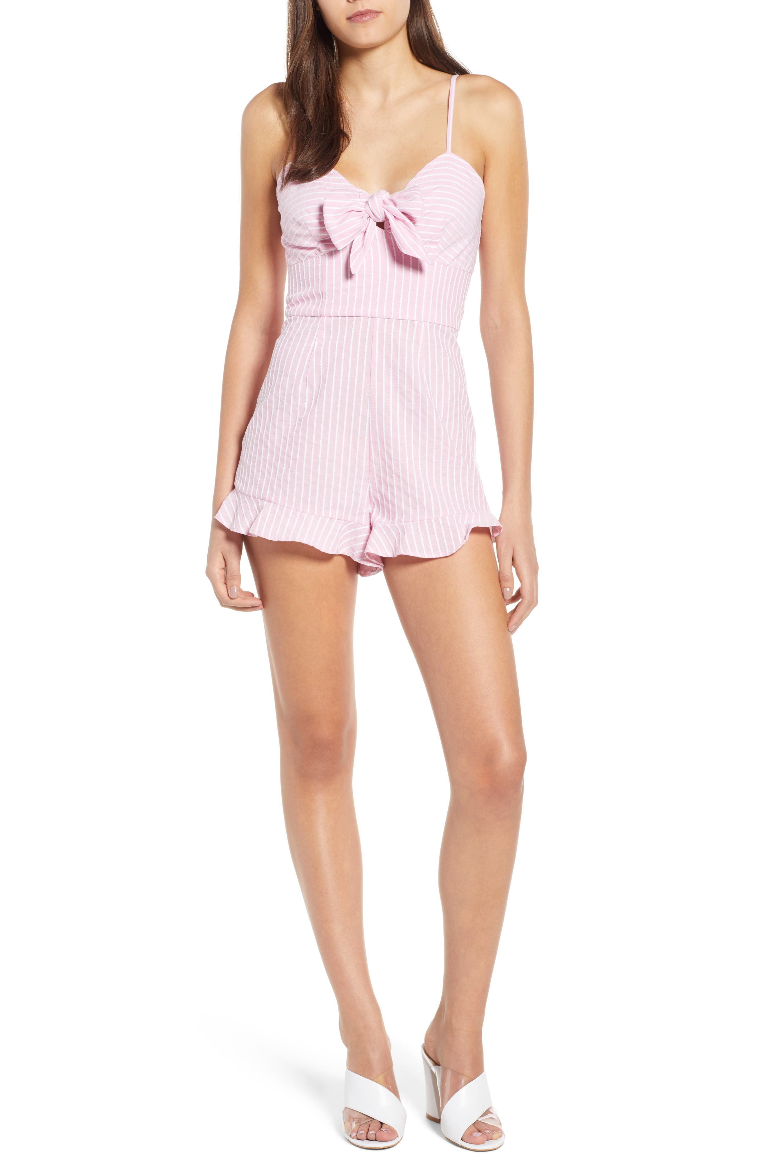 Parcel Ruffle Hem Romper,                             Main thumbnail 1, color,                             Blossom With White