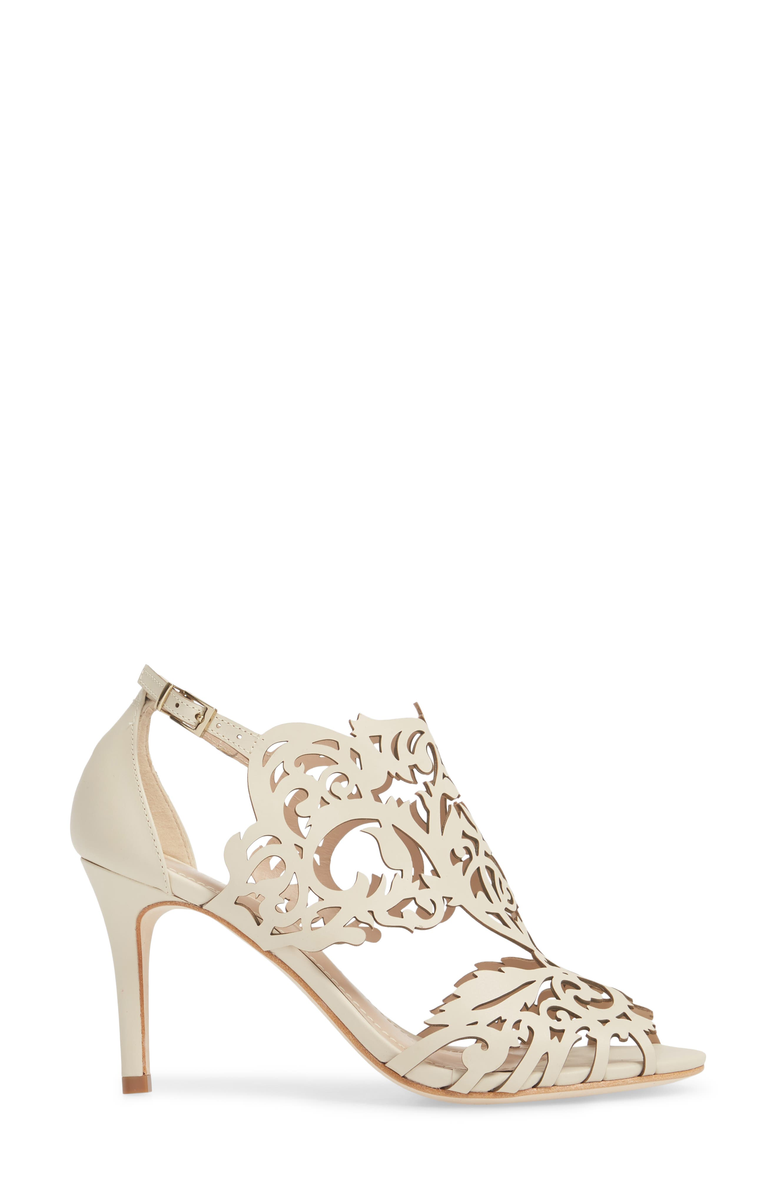 Marcela 3 Laser Cutout Sandal,                             Alternate thumbnail 3, color,                             Ivory Leather