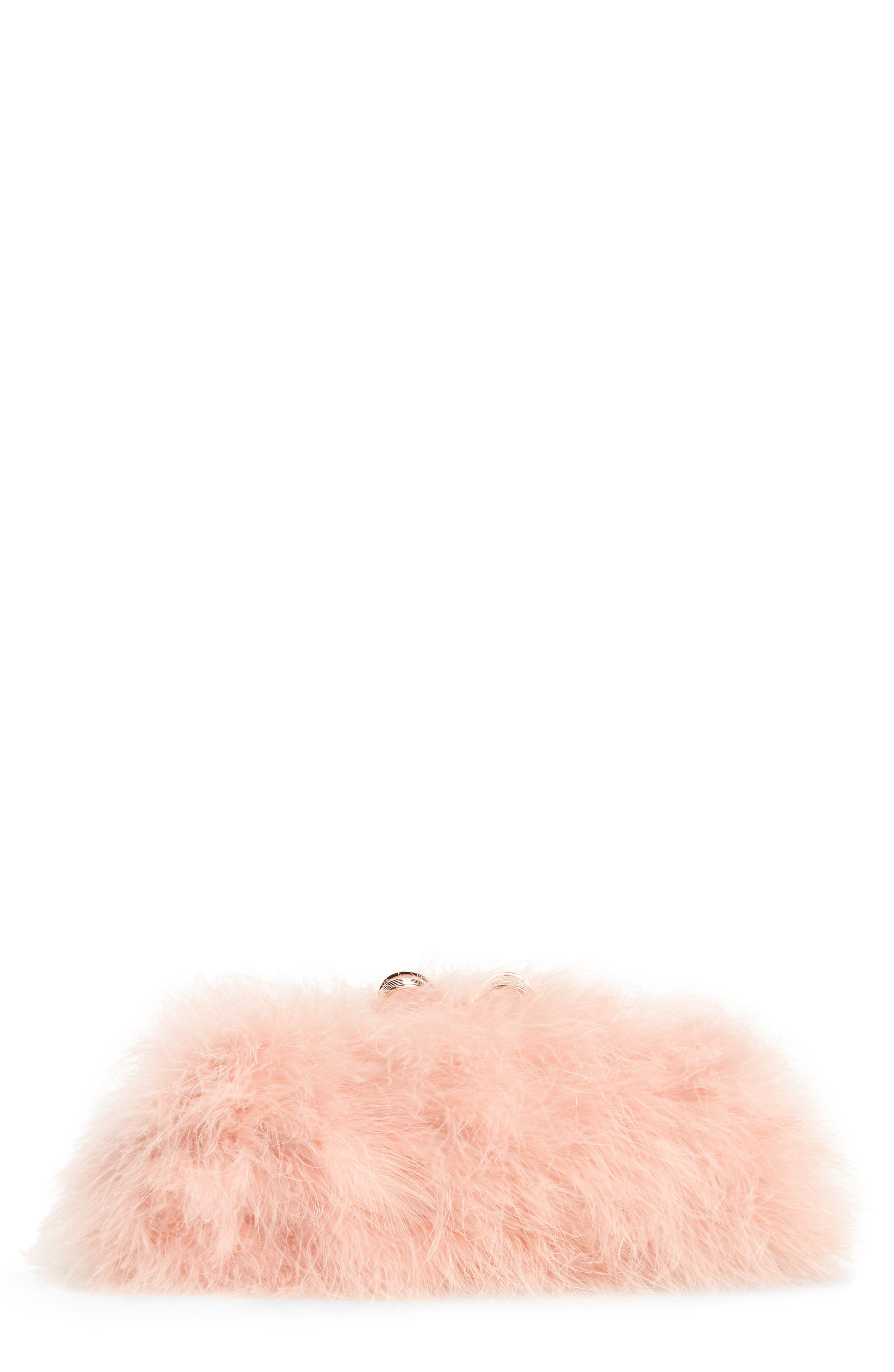 Loop Bow Feather Evening Bag,                             Main thumbnail 1, color,                             Light Pink
