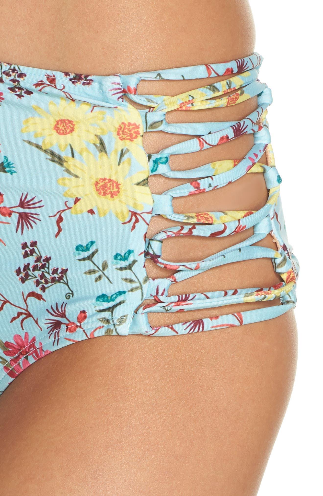 Stripe High Waist Bikini Bottoms,                             Alternate thumbnail 4, color,                             Teal Eggshell