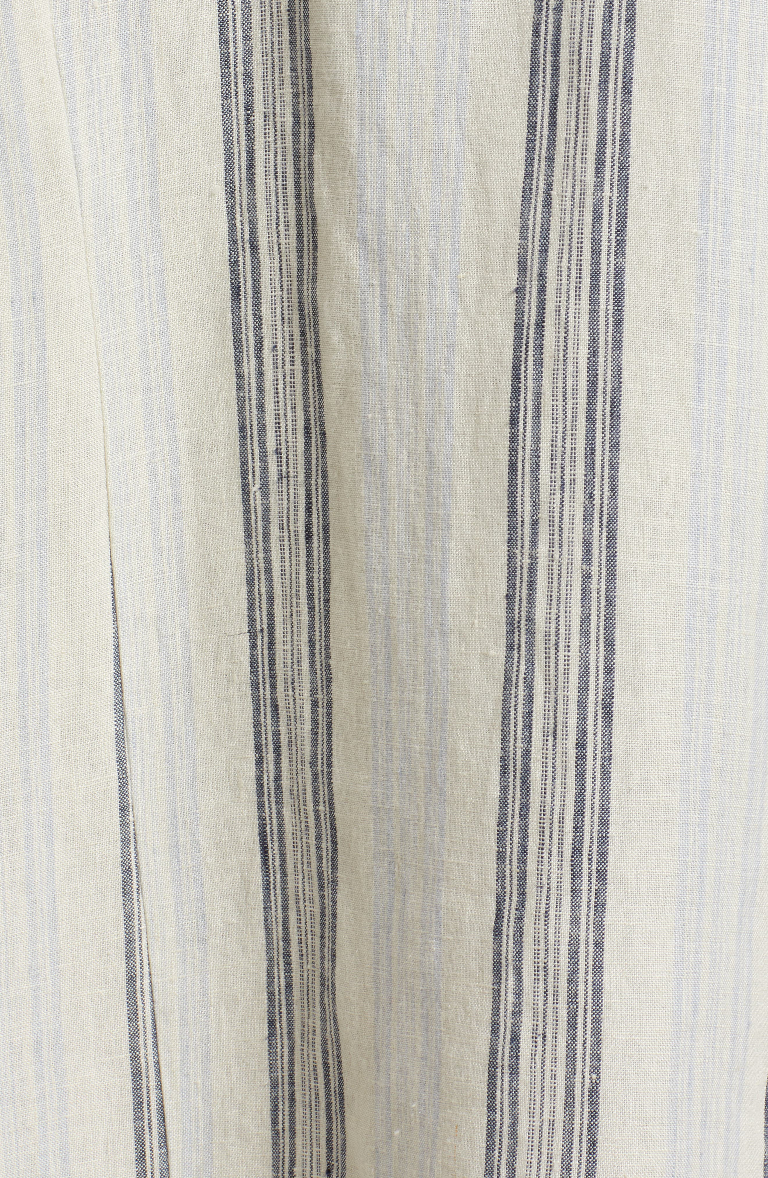 Stripe Linen Keyhole Shift Dress,                             Alternate thumbnail 6, color,                             Beige Rainy Day Frankie Stripe