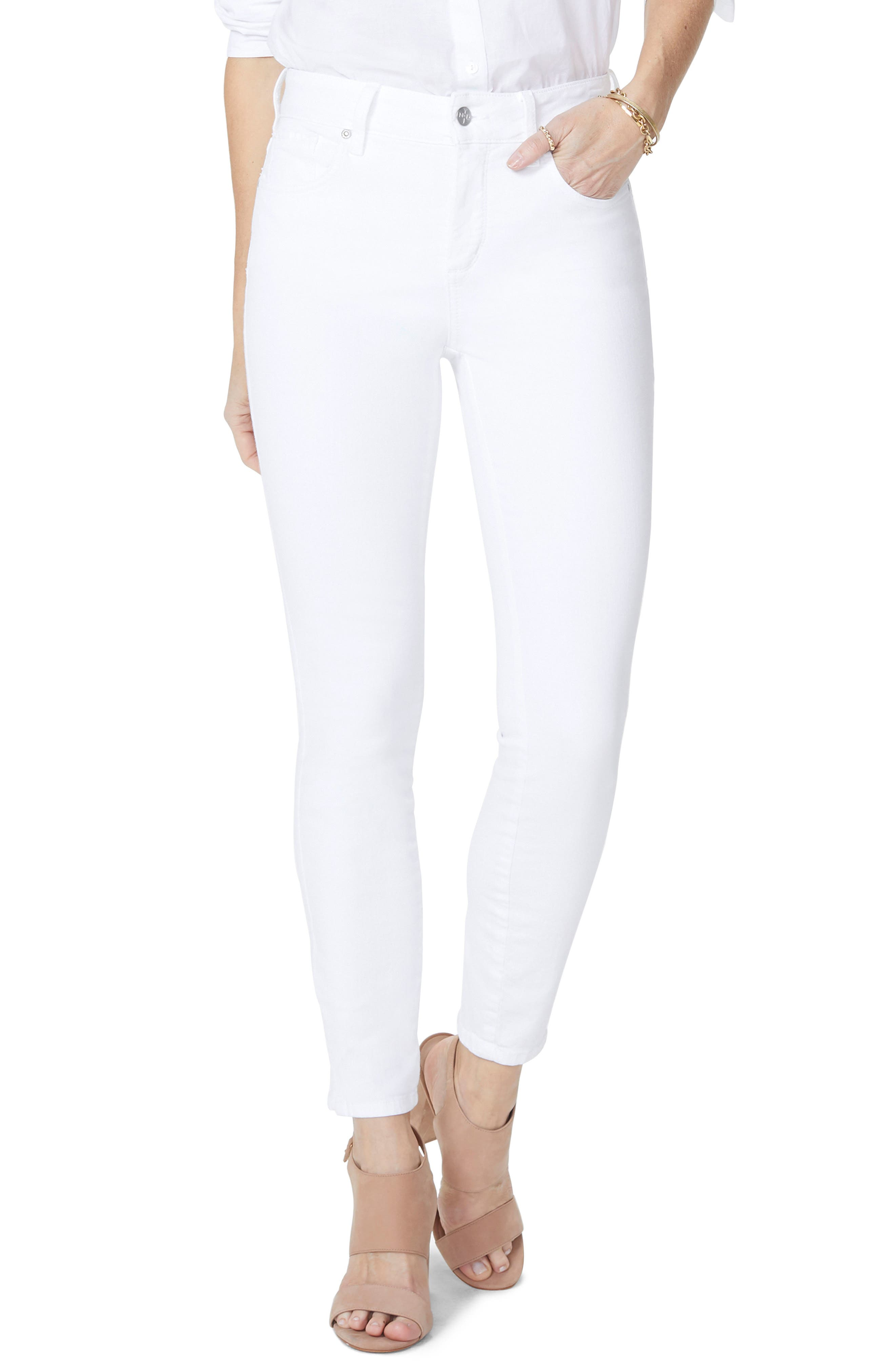 Ami Stretch Ankle Skinny Jeans,                             Main thumbnail 1, color,                             Optic White