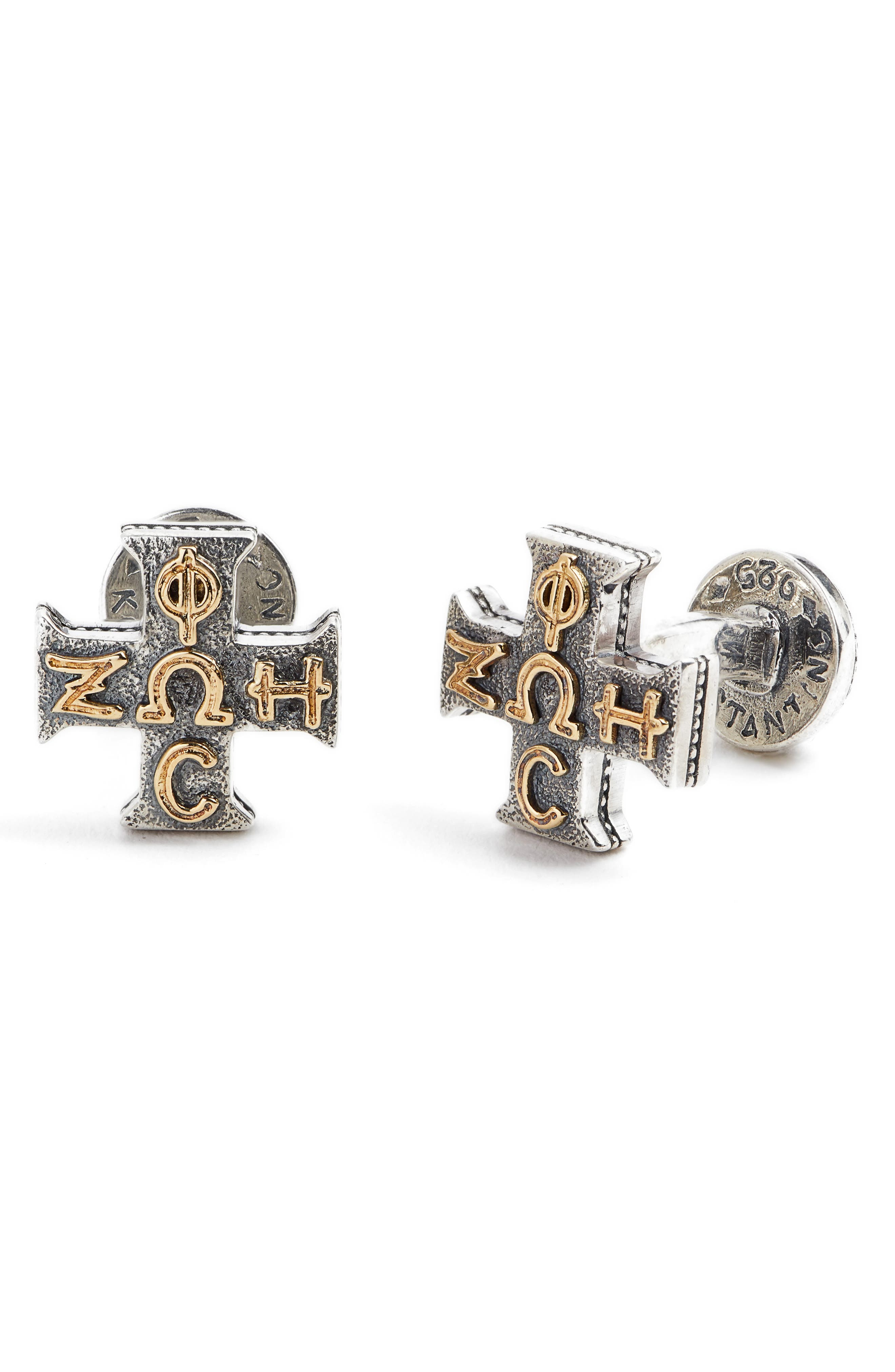Stavros Cross Cuff Links,                         Main,                         color, Silver/ Gold