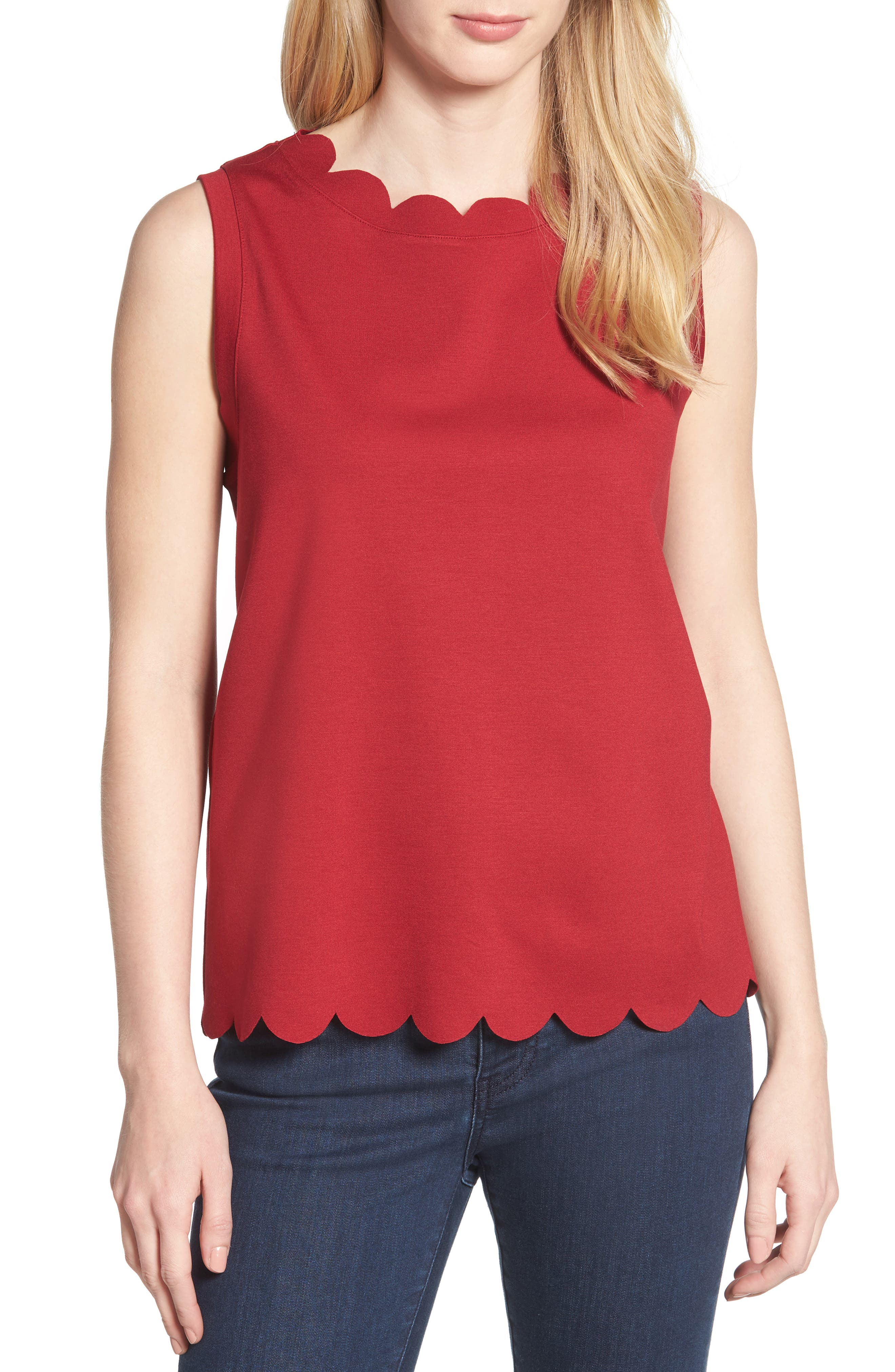 Scallop Edge Sleeveless Top,                         Main,                         color, Red